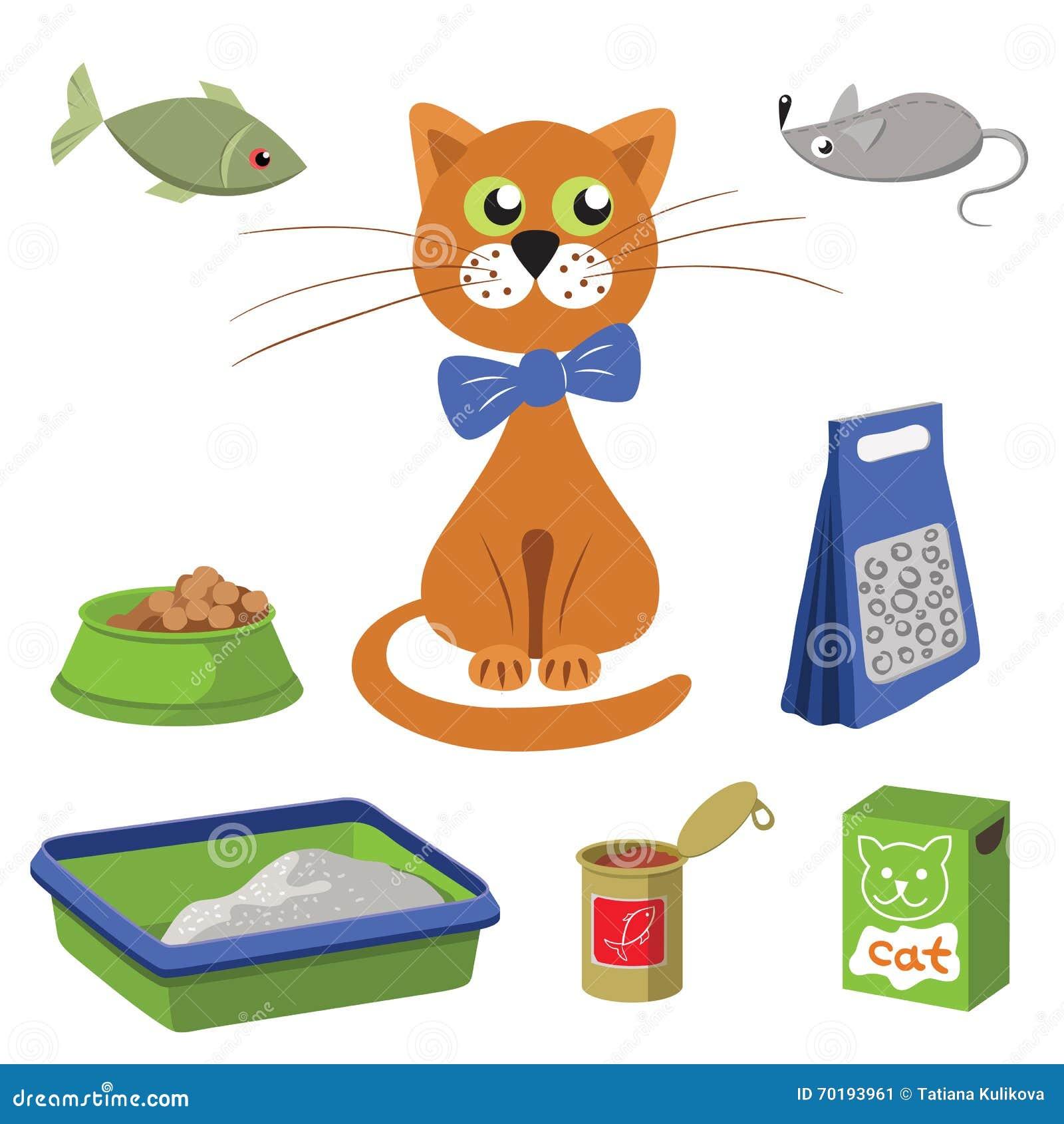 Uppsättning av produkter för katter också vektor för coreldrawillustration