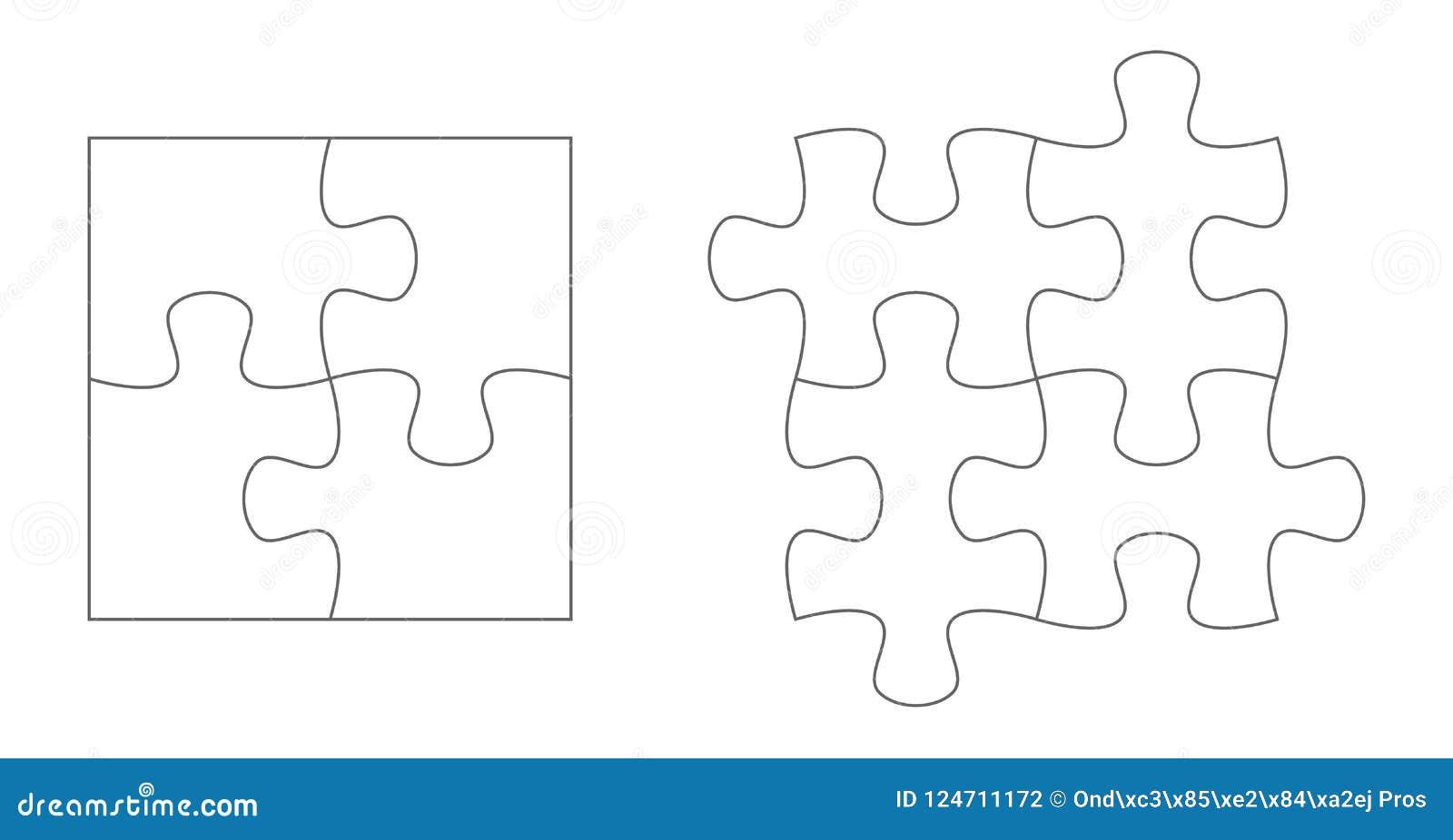 Uppsättning av pusselstycken Uppsättning för mallar för vektor för pussel fyra plan tom