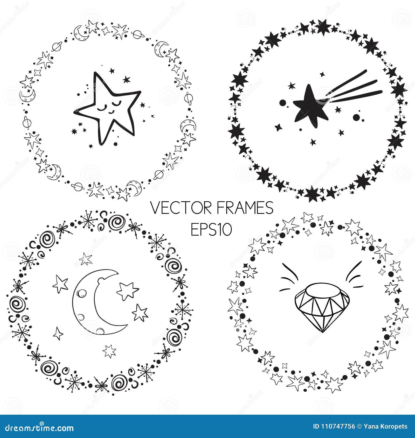 Uppsättning av ramar för cirkel för vektordiagram Kransar för designen, logomall Stardust stjärnor, stjärnklar himmel