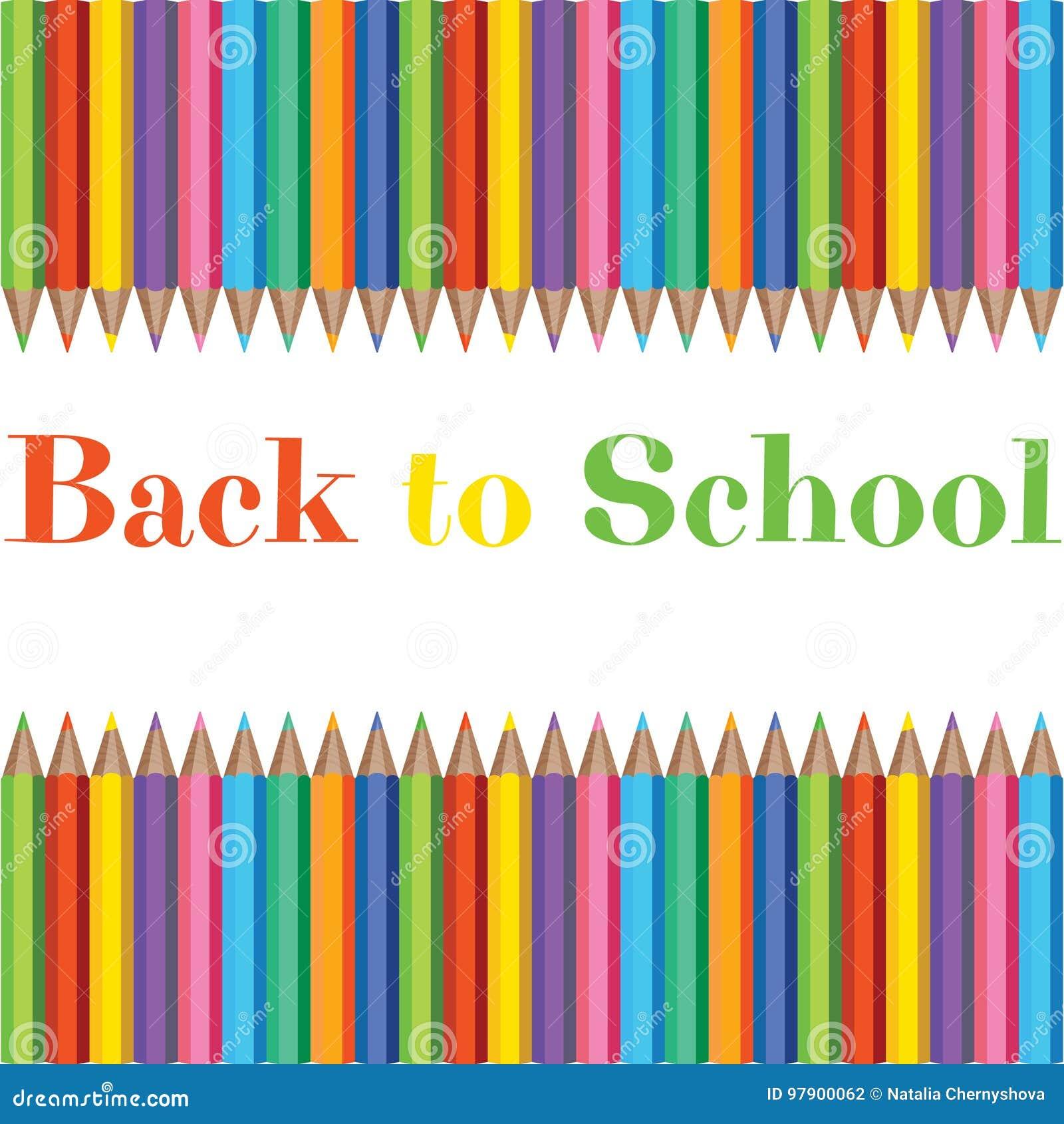 Uppsättning av realistiska färgrika blyertspennor i bakgrund med textur för tillbaka till skolan med utrymme för meddelande
