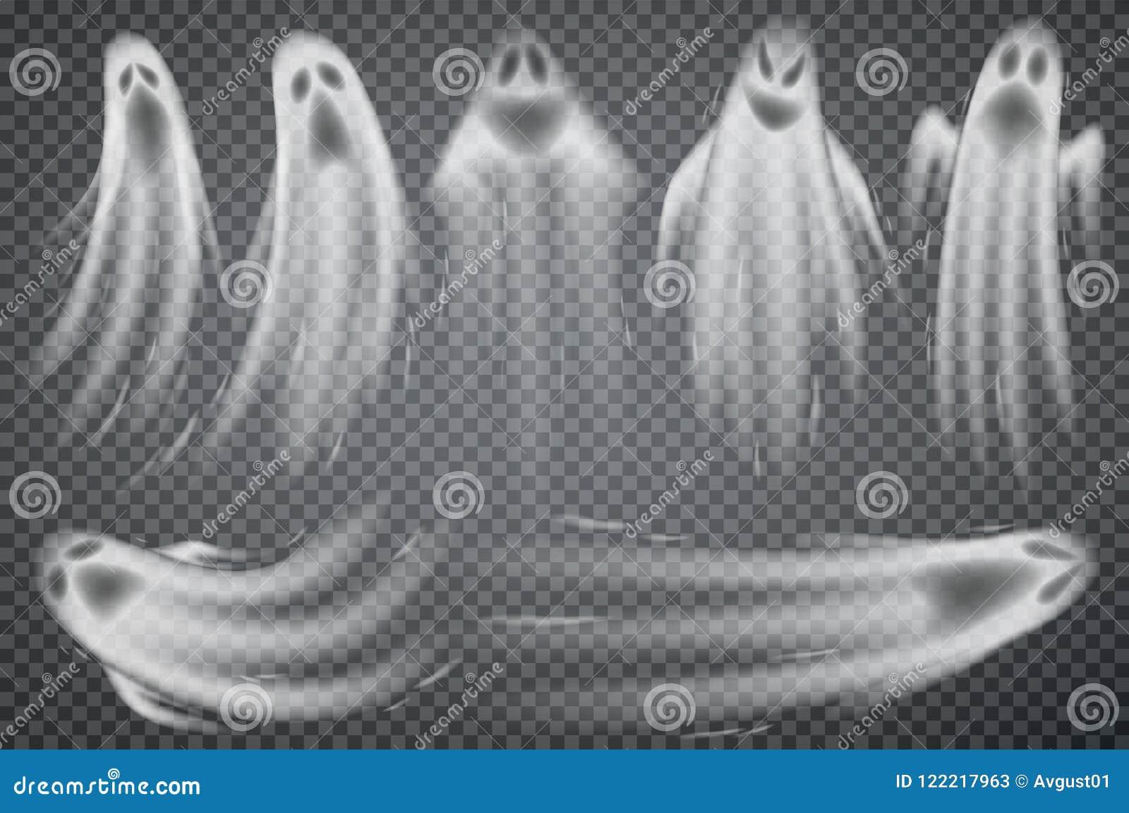 Uppsättning av realistiska spökar som isoleras på genomskinlig bakgrund