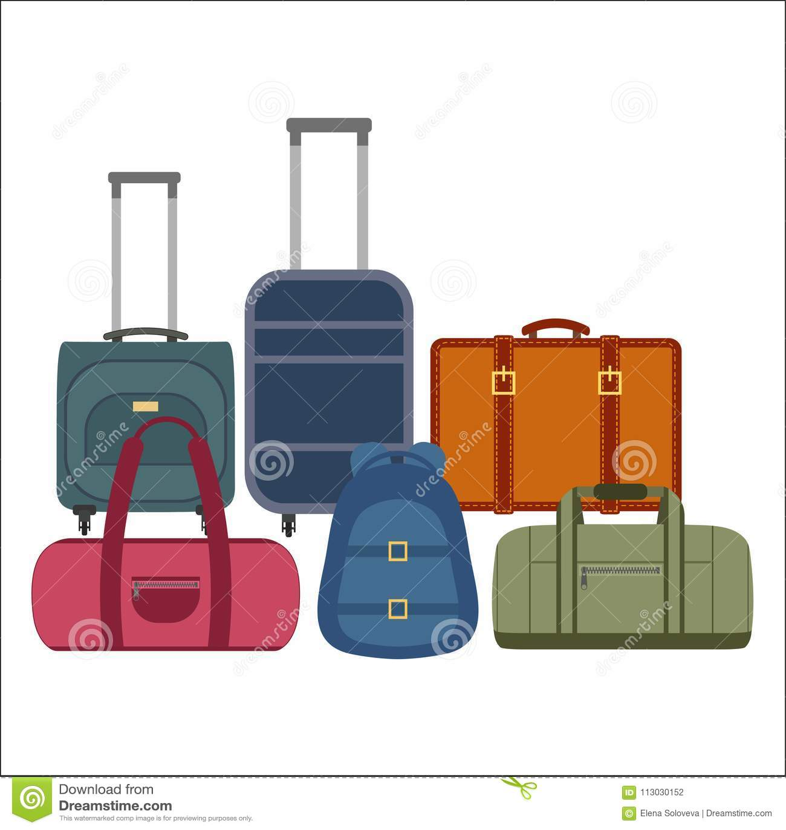 Uppsättning av resväskakonturer och ryggsäcksymboler