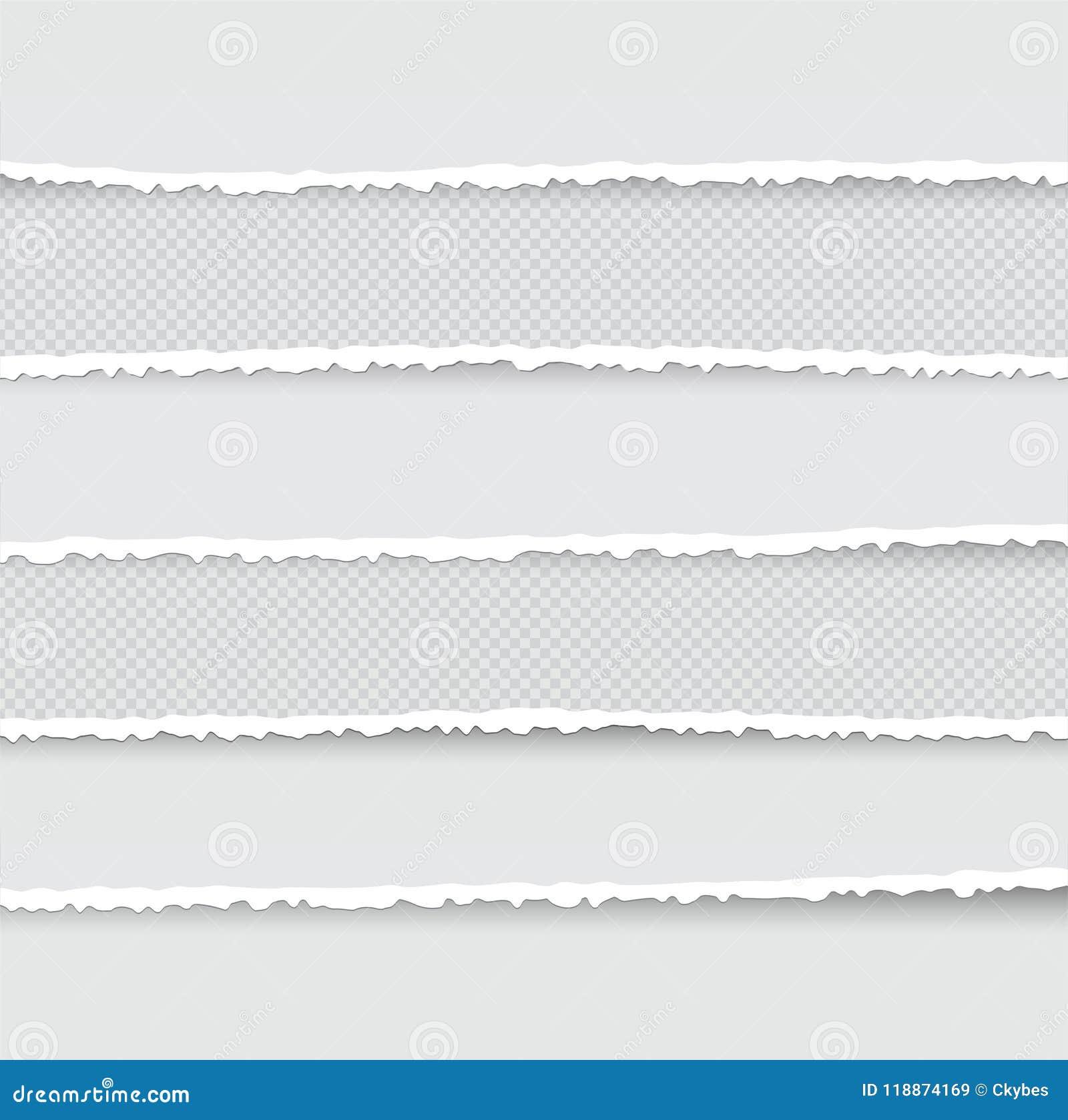 Uppsättning av rev sönder och sönderrivna pappers- band Textur av papper med den skadade kanten som isoleras på genomskinlig bakg