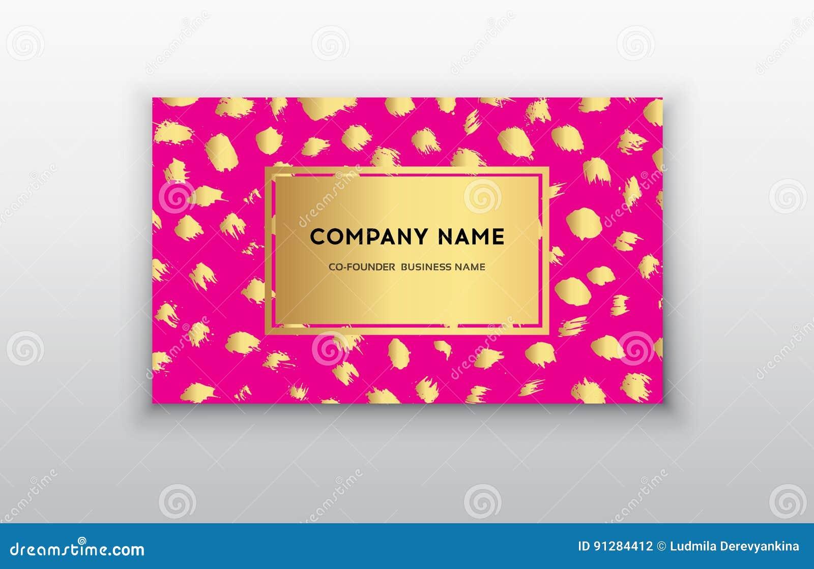 Uppsättning av rosa färger och det guld- designaffärskortet moderna abstrakt bakgrunder Borsteprickslaglängd