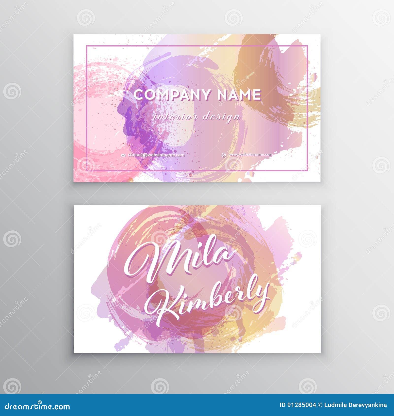 Uppsättning av rosa färger och det guld- designaffärskortet moderna abstrakt bakgrunder Brush slår