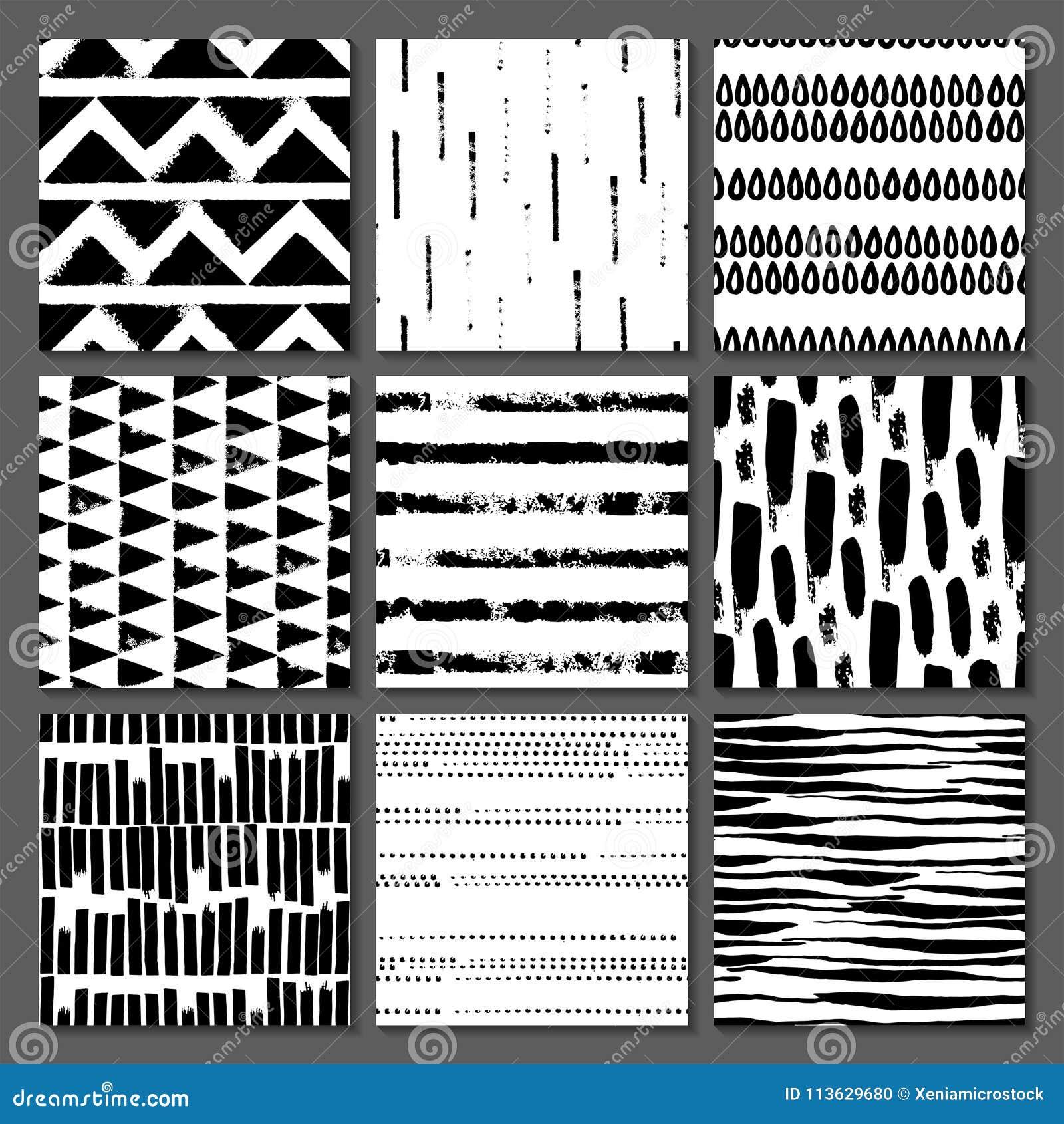 Uppsättning av sömlös textur 9 Droppar pekar, fodrar, gör randig, cirklar, fyrkanter, rektanglar Abstrakt begreppformer som dras