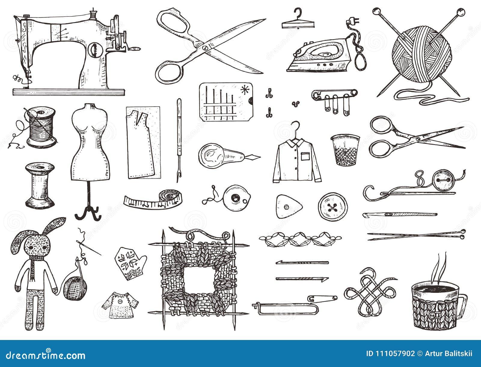 Uppsättning av sömnadhjälpmedel och material eller hjälpmedel för att sticka eller virkning för handarbete Handgjord utrustning S