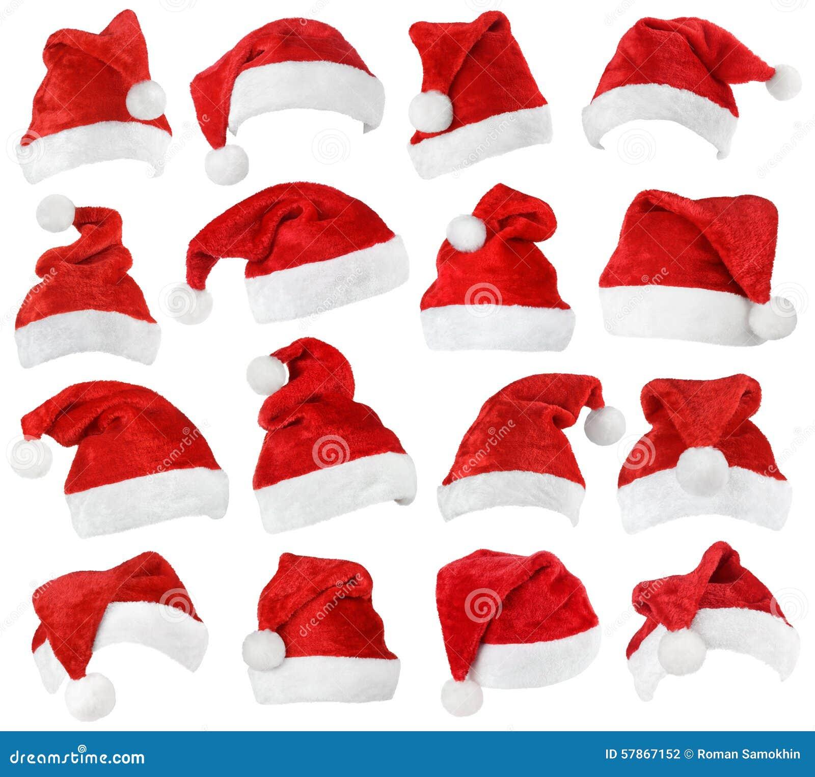 Uppsättning av Santa Claus röda hattar