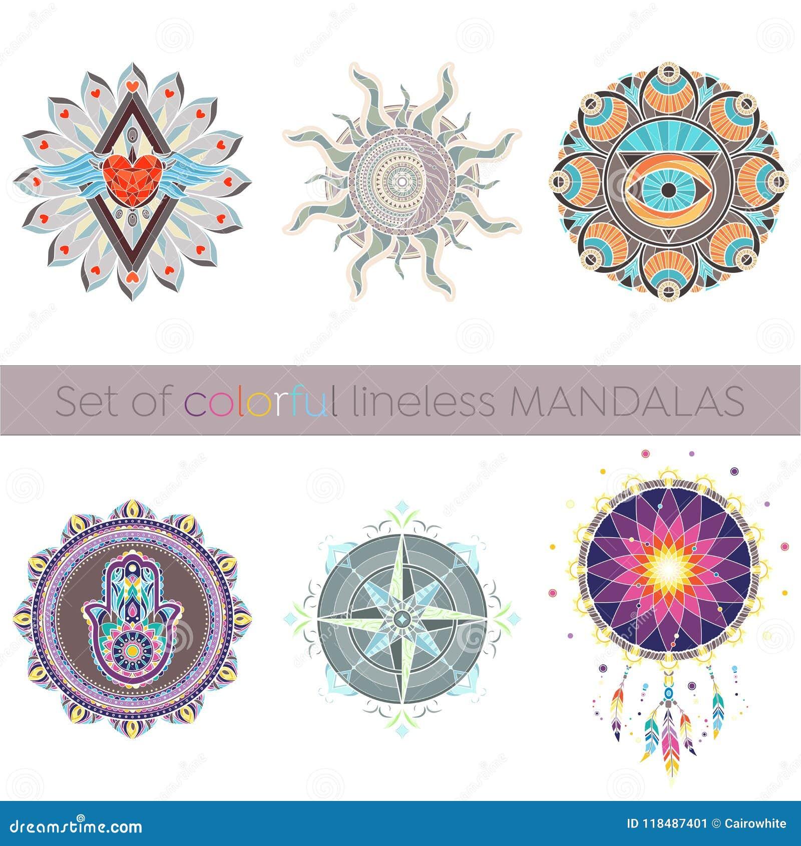 Uppsättning av sex invecklade lineless färgrika mandalas