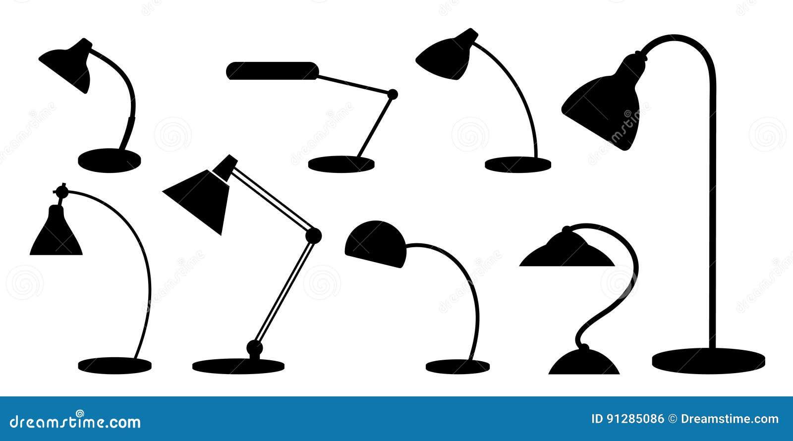 Uppsättning av skrivbordlampor Konturer monokrom