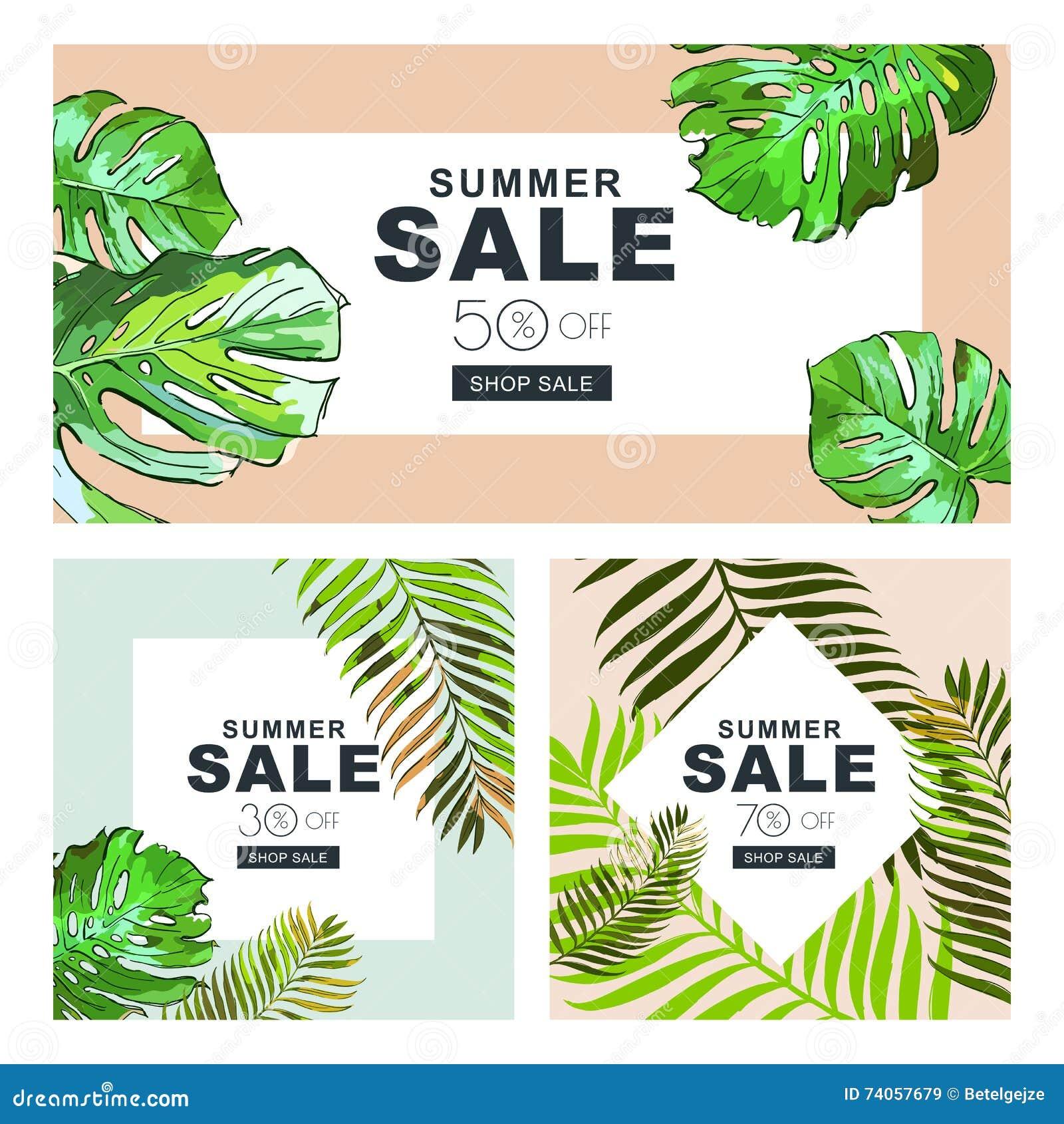 Uppsättning av sommarförsäljningsbaner med kokosnötpalmblad Vektorhorisontal- och fyrkantiga baner Sommaraffischbakgrund