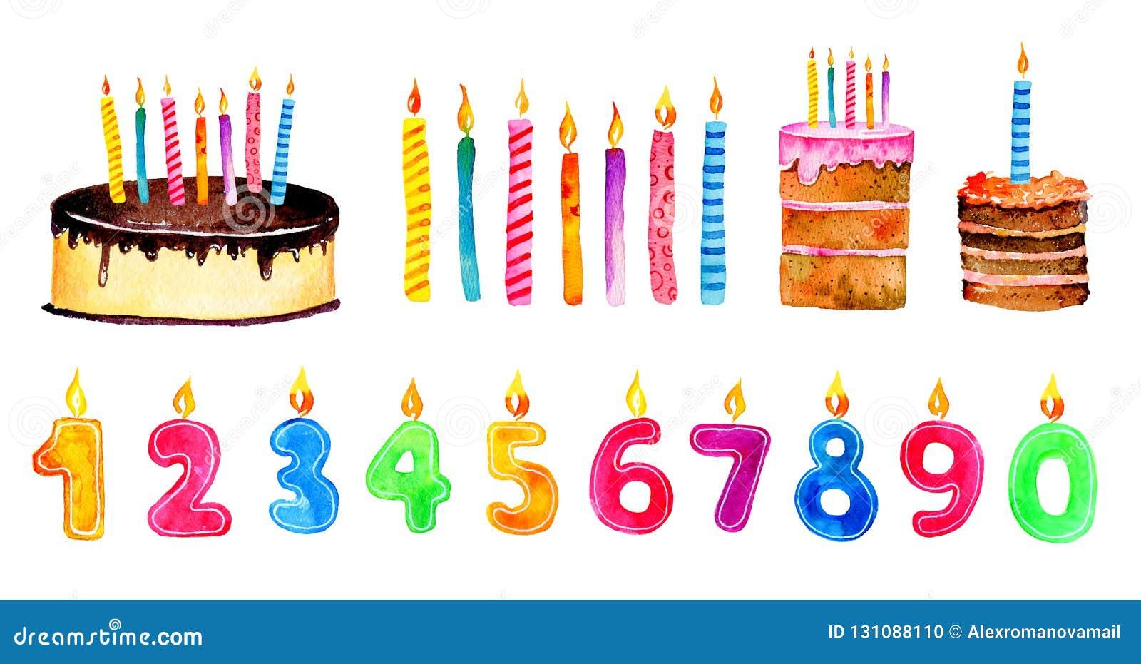 Uppsättning av stiliserade födelsedagbeståndsdelar Tecknad filmkakor och stearinljus för hand utdragna vattenfärgen skissar illus