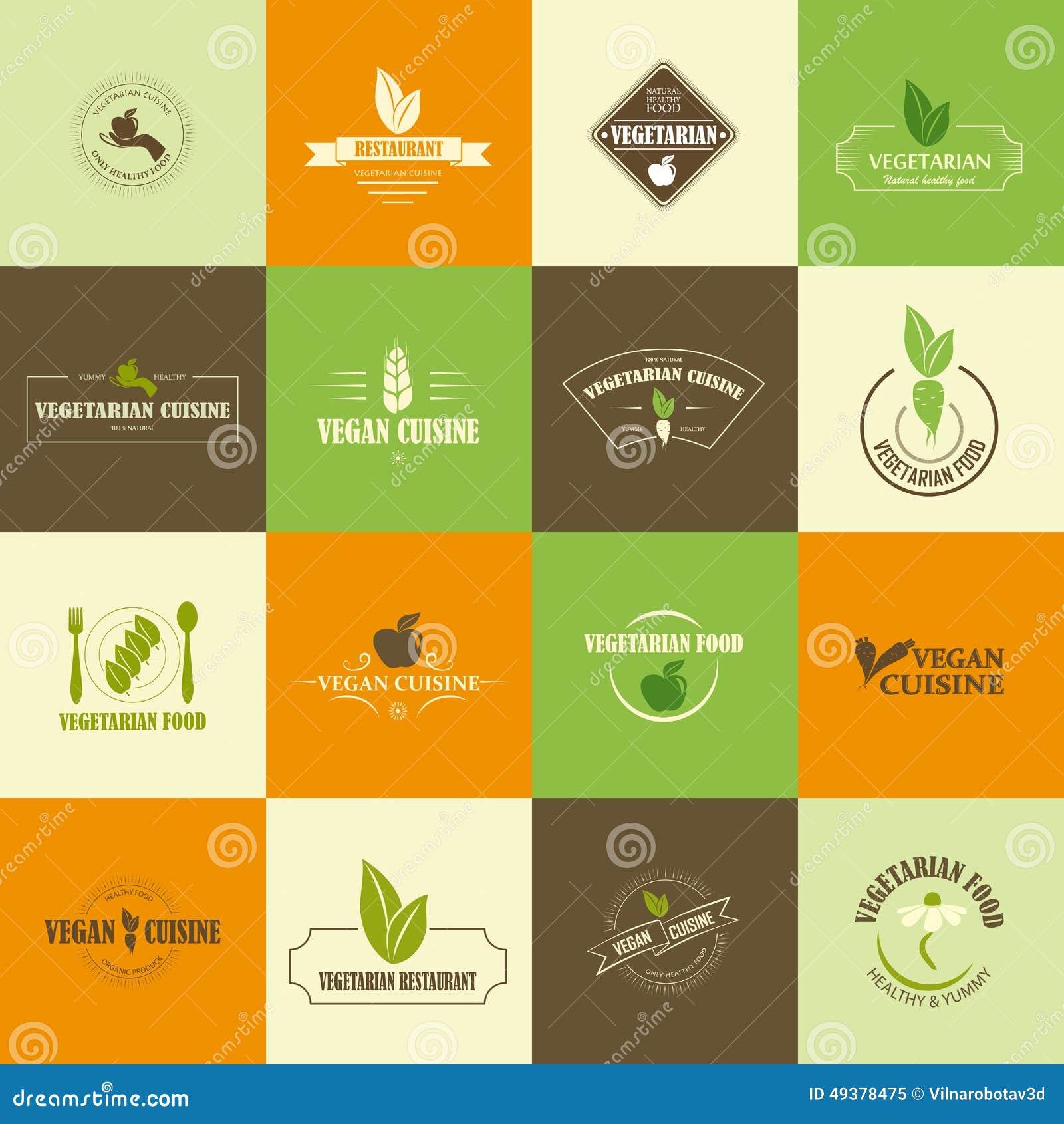 Uppsättning av strikt vegetarian- och vegetariansymboler
