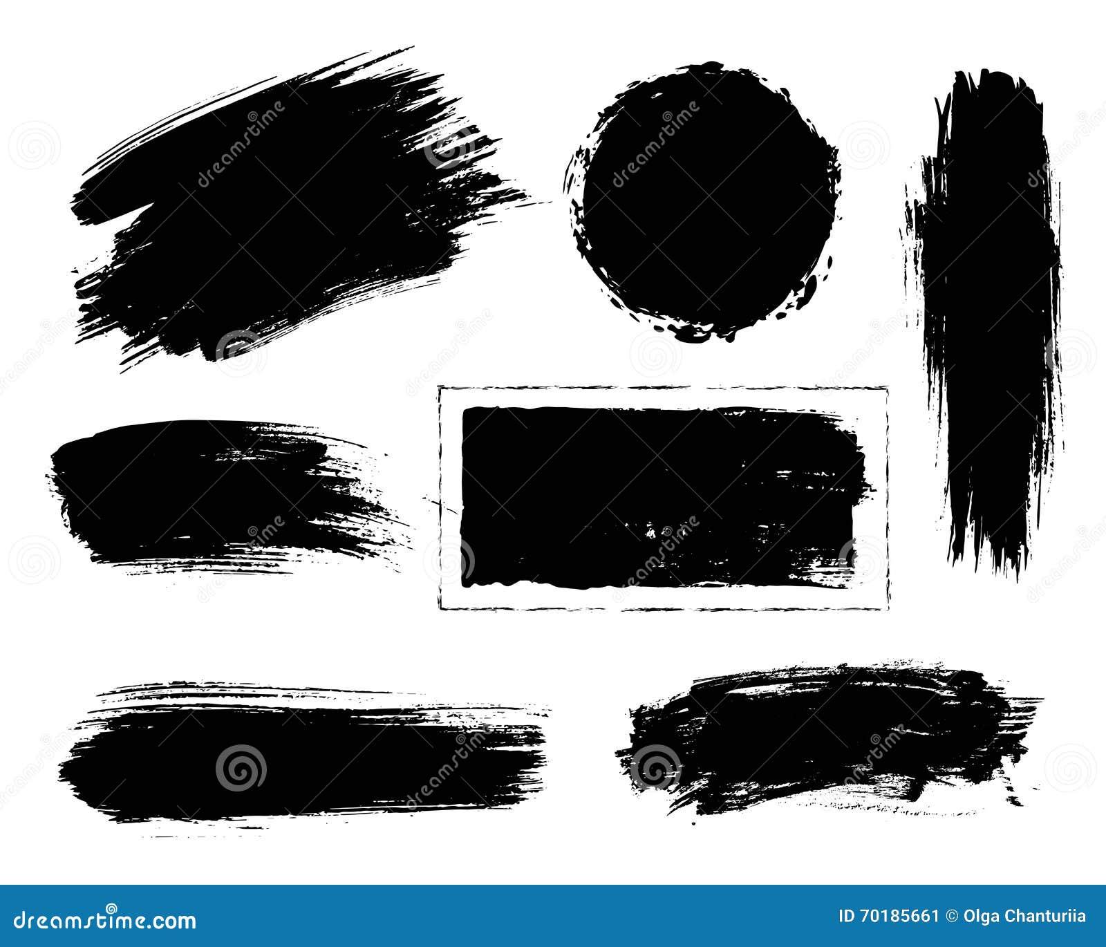 Uppsättning av svart målarfärg, färgpulverborsteslaglängder