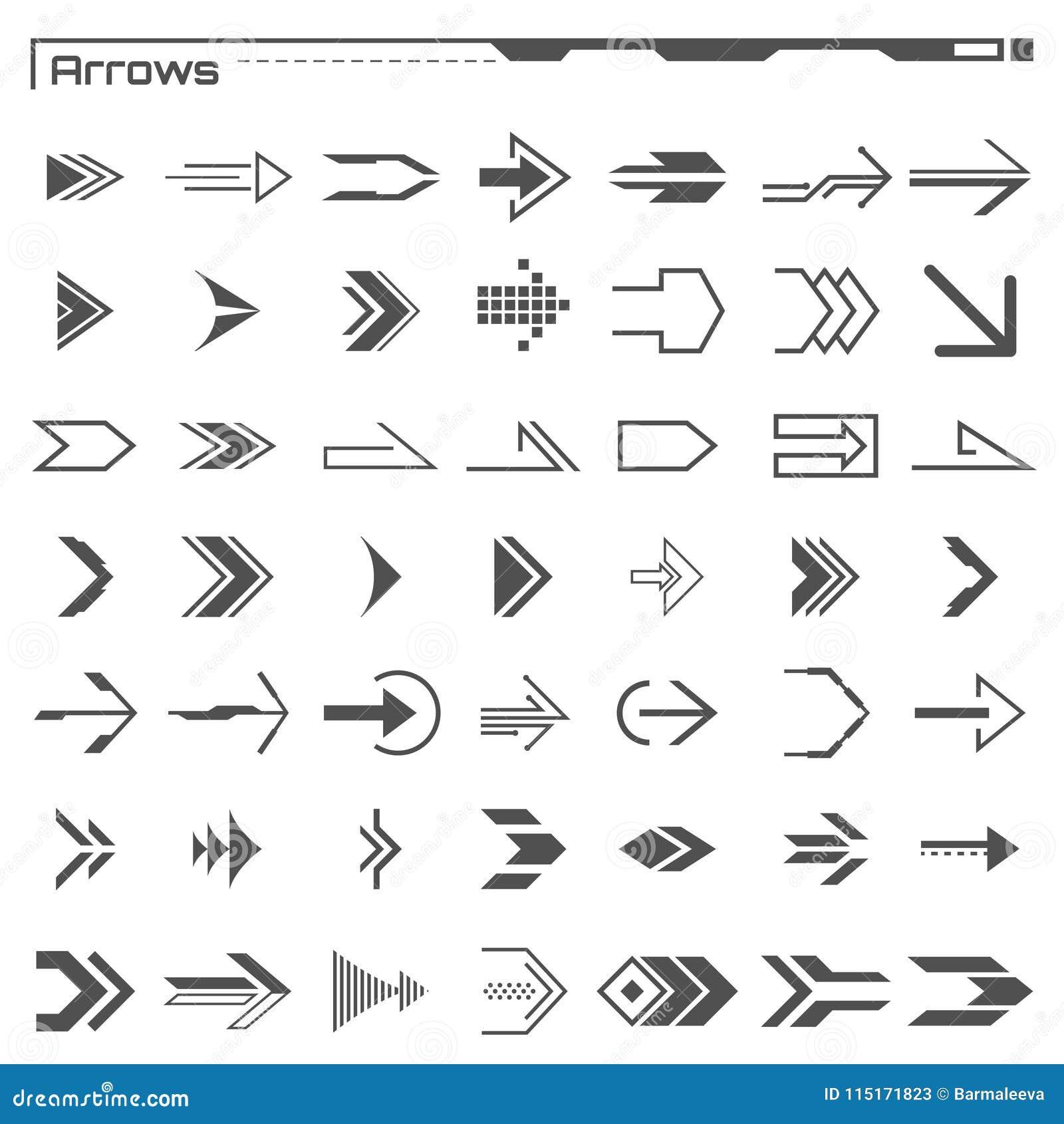 Uppsättning av svarta hudpilbeståndsdelar Futuristisk användargränssnitt Faktiskt diagram infographic element Digital instrumentb