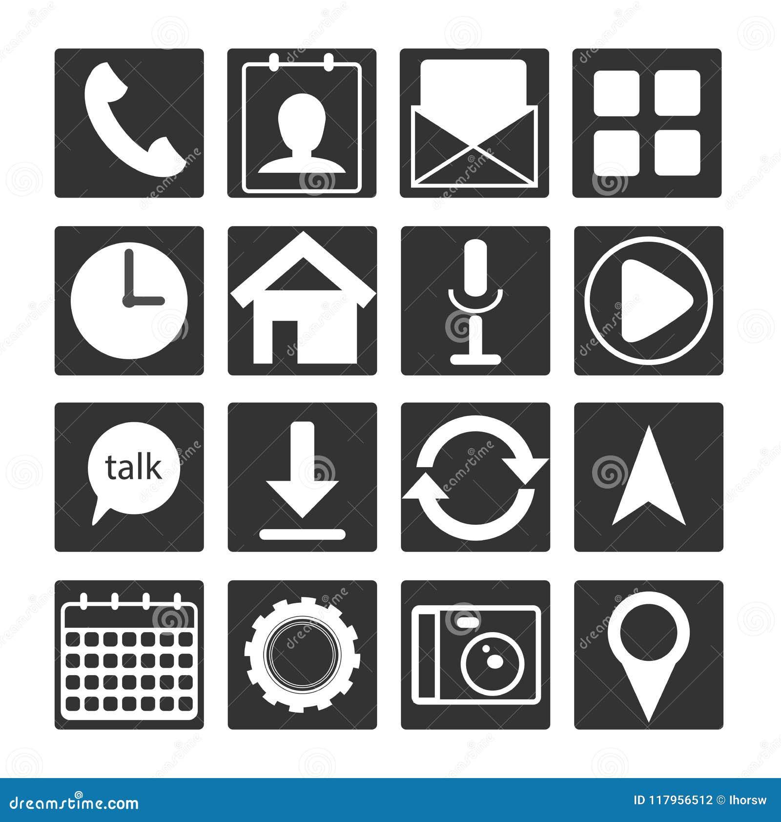 Uppsättning av symbolen för app för svart lägenhet för vit 16 den mobila Skissera knapptecknet för rengöringsdukutveckling, andro