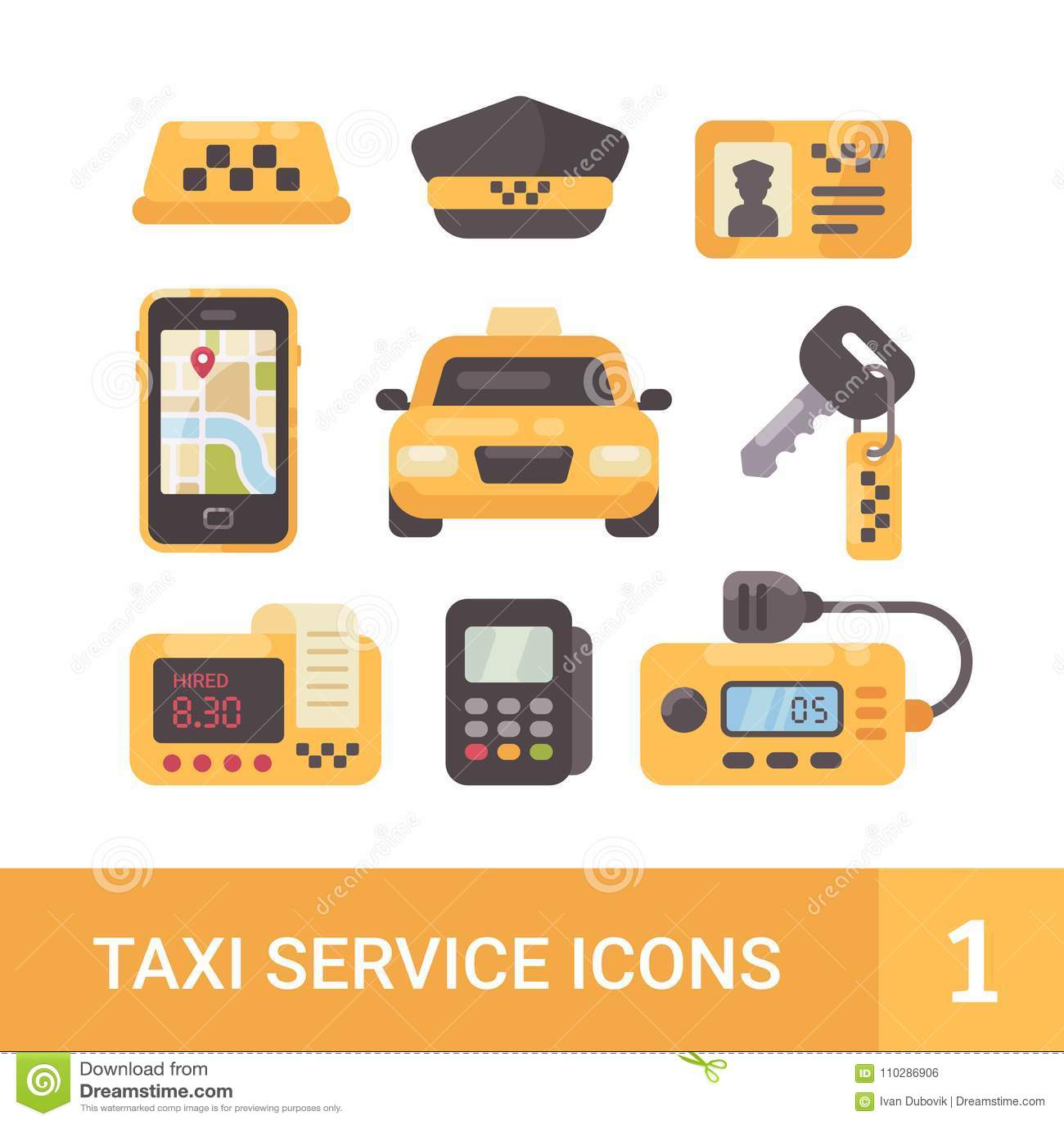 Uppsättning av symboler för tjänste- lägenhet för taxi Bil taxameter, radio, mobil app