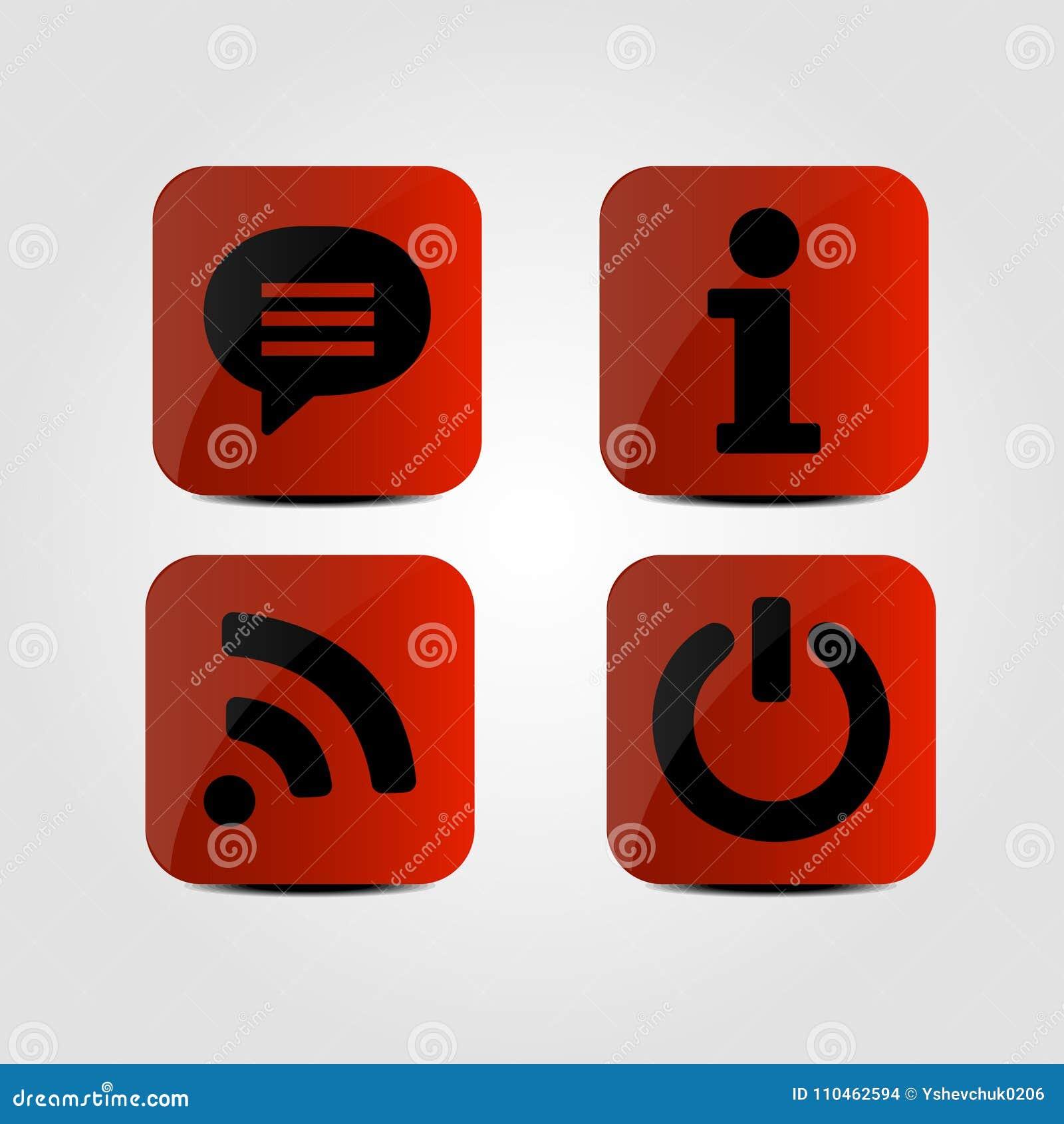Uppsättning av symboler - meddelande-, Wifi, informations- och maktsymboler