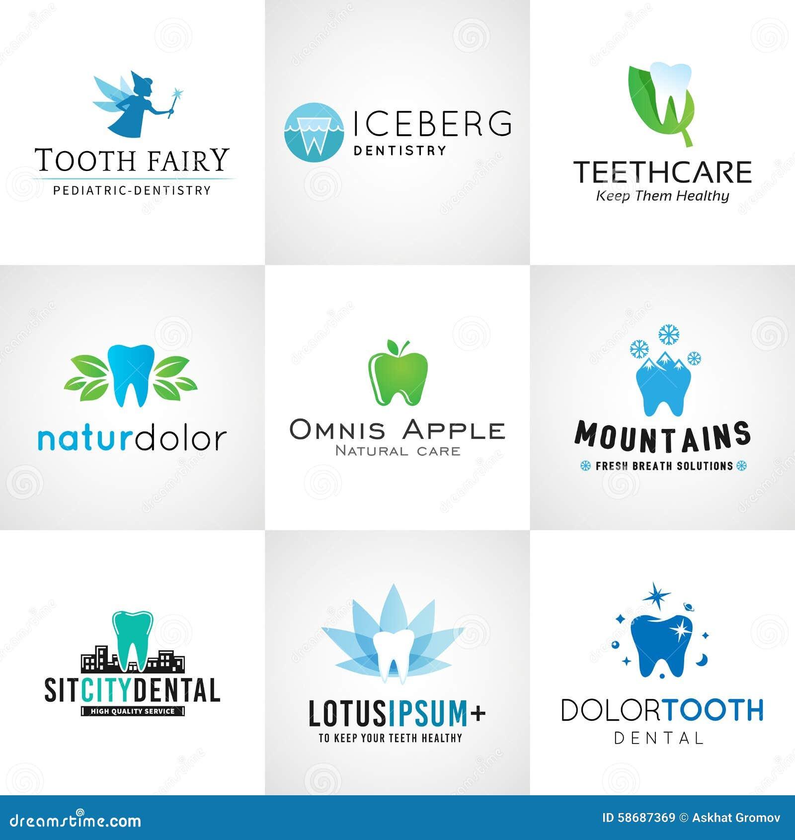 Uppsättning av tand- logoer Vektortanddesigner brigham