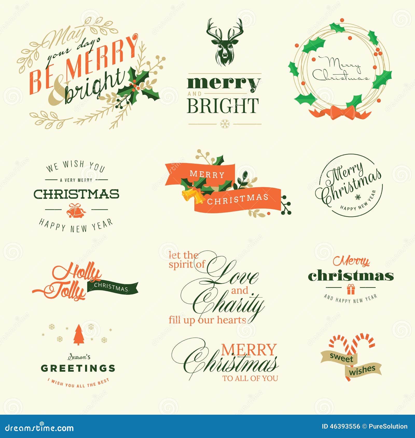 Uppsättning av tappningbeståndsdelar för hälsningkort för jul och för nytt år