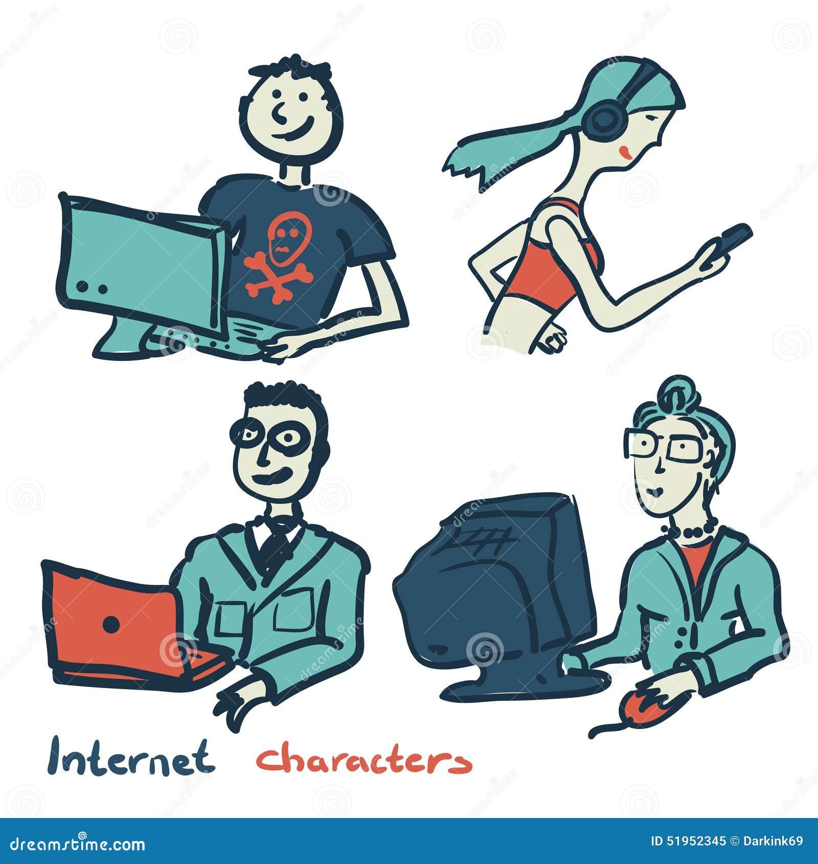 Uppsättning av tecken på temat av den internetteknologi och apparaten