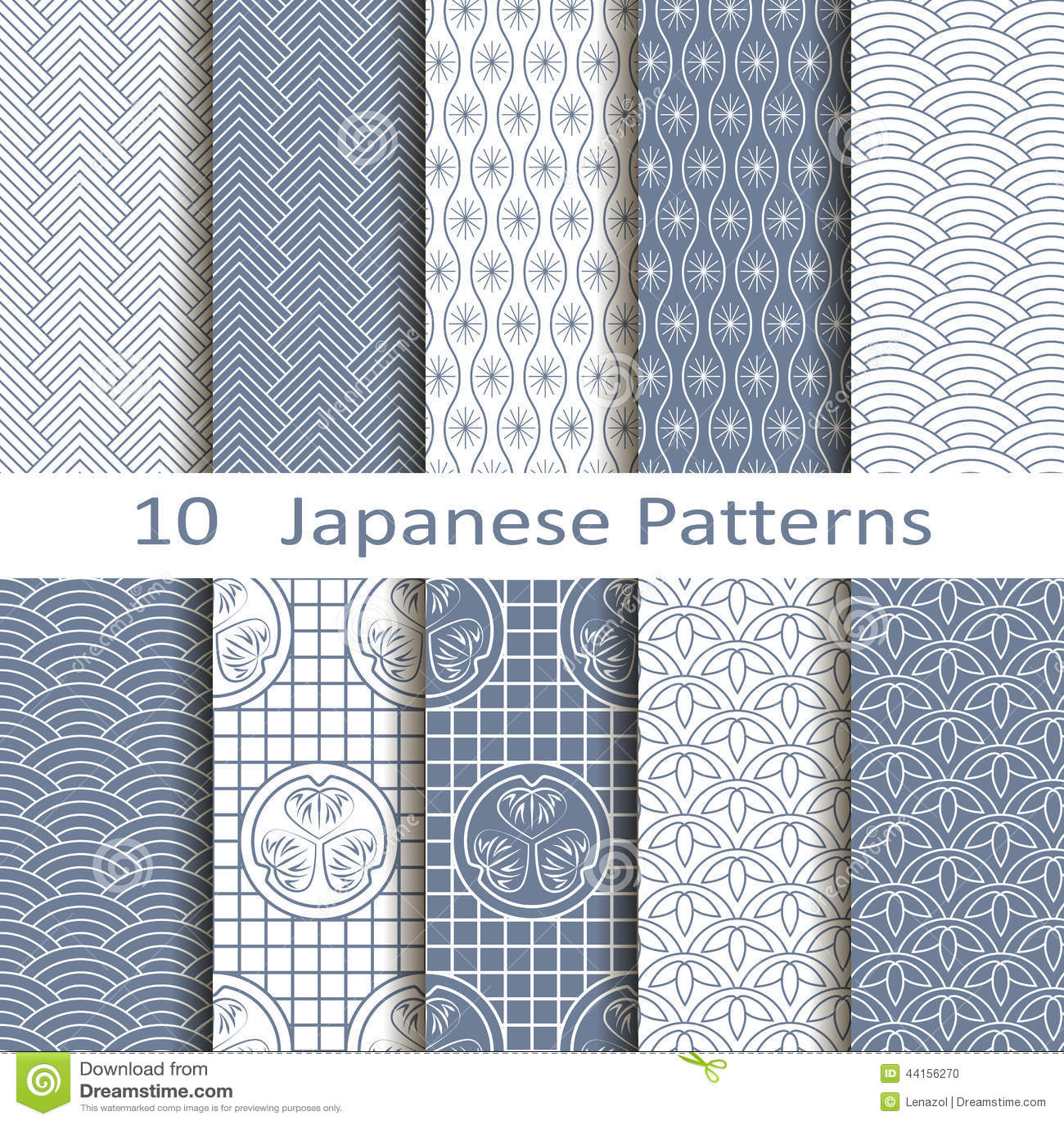 Uppsättning av tio japanska modeller