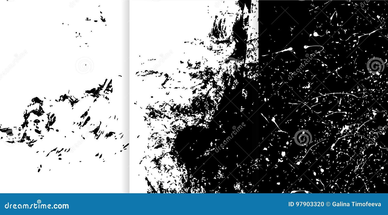 Uppsättning av tre svartvit hand drog texturer för din design