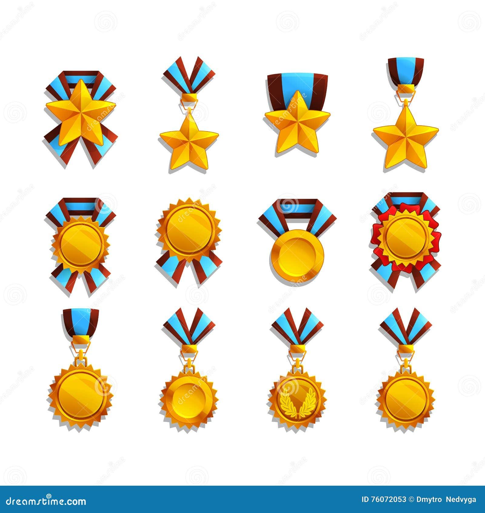Uppsättning av trofé och medaljer