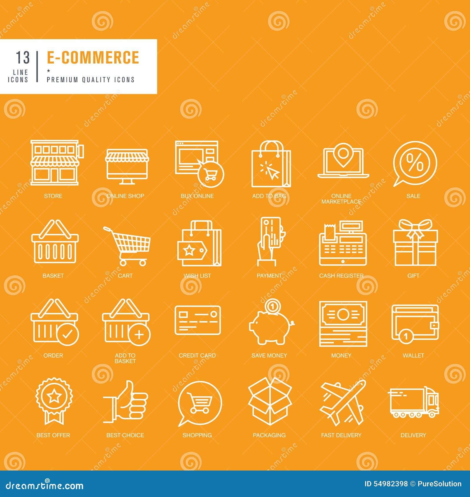 Uppsättning av tunna linjer rengöringsduksymboler för e-kommers