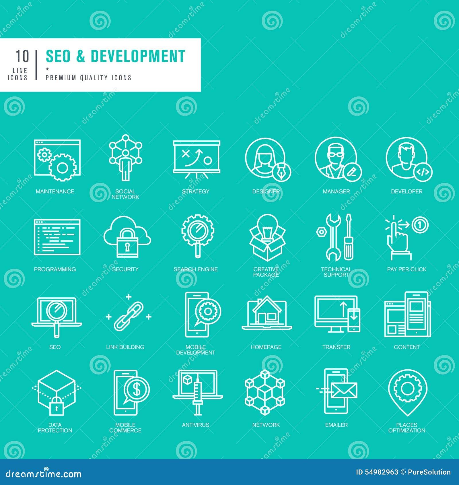 Uppsättning av tunna linjer rengöringsduksymboler för SEO och utveckling