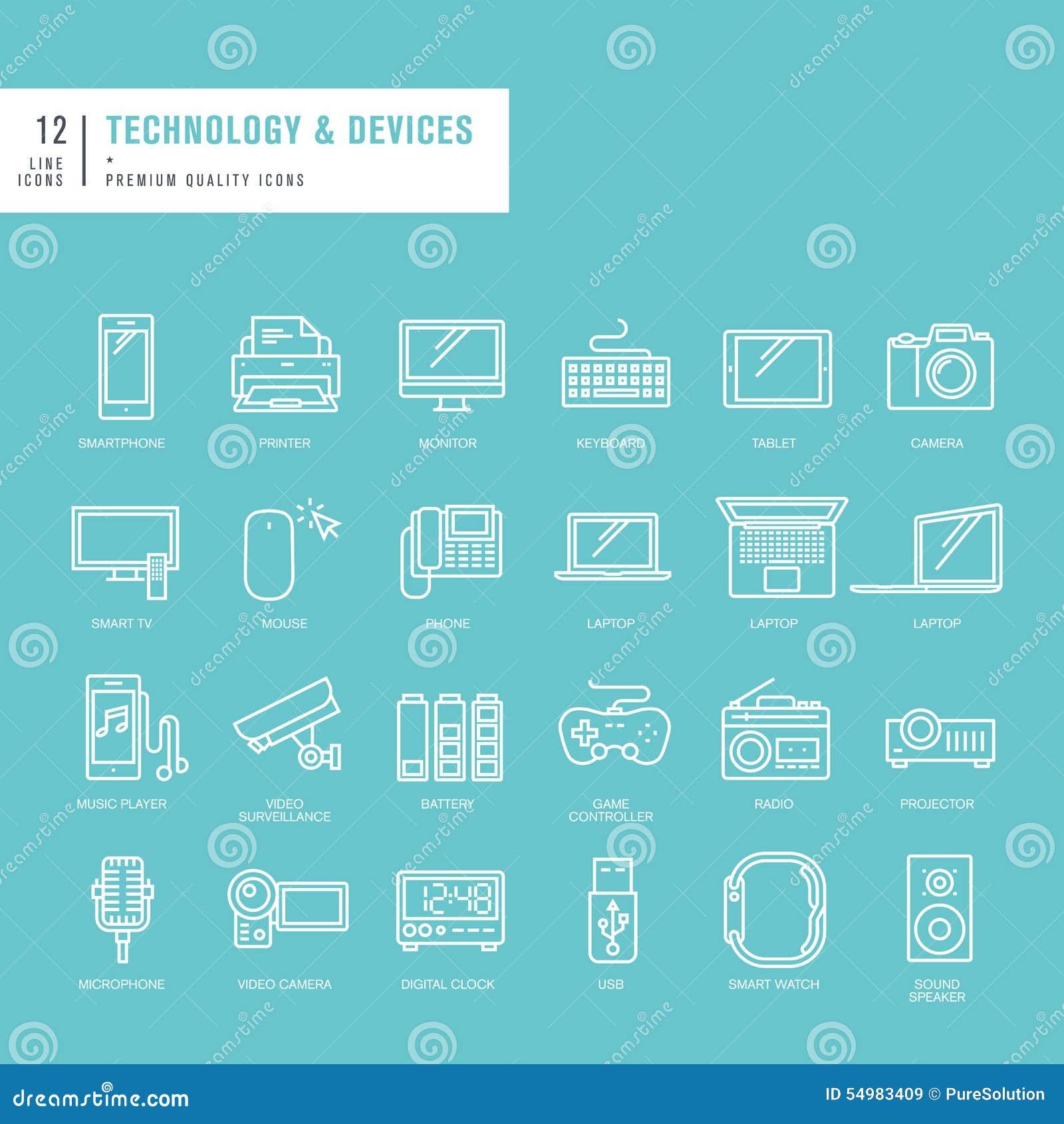Uppsättning av tunna linjer rengöringsduksymboler för teknologi