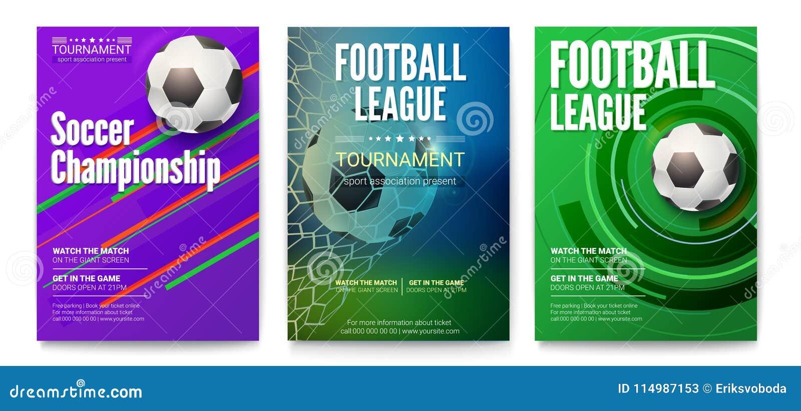Uppsättning av turneringaffischer av fotboll- eller fotbollligan Design av baner för sporthändelser Mall av advertizingen för