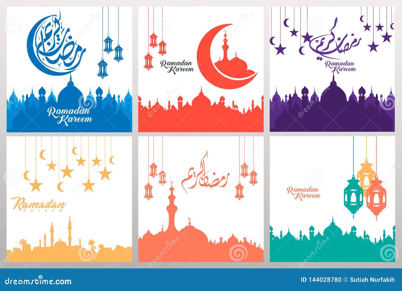 Uppsättning av utsmyckade fyrkantiga hälsa kort med ramadan kalligrafi och prydnadvirvelramen illustration