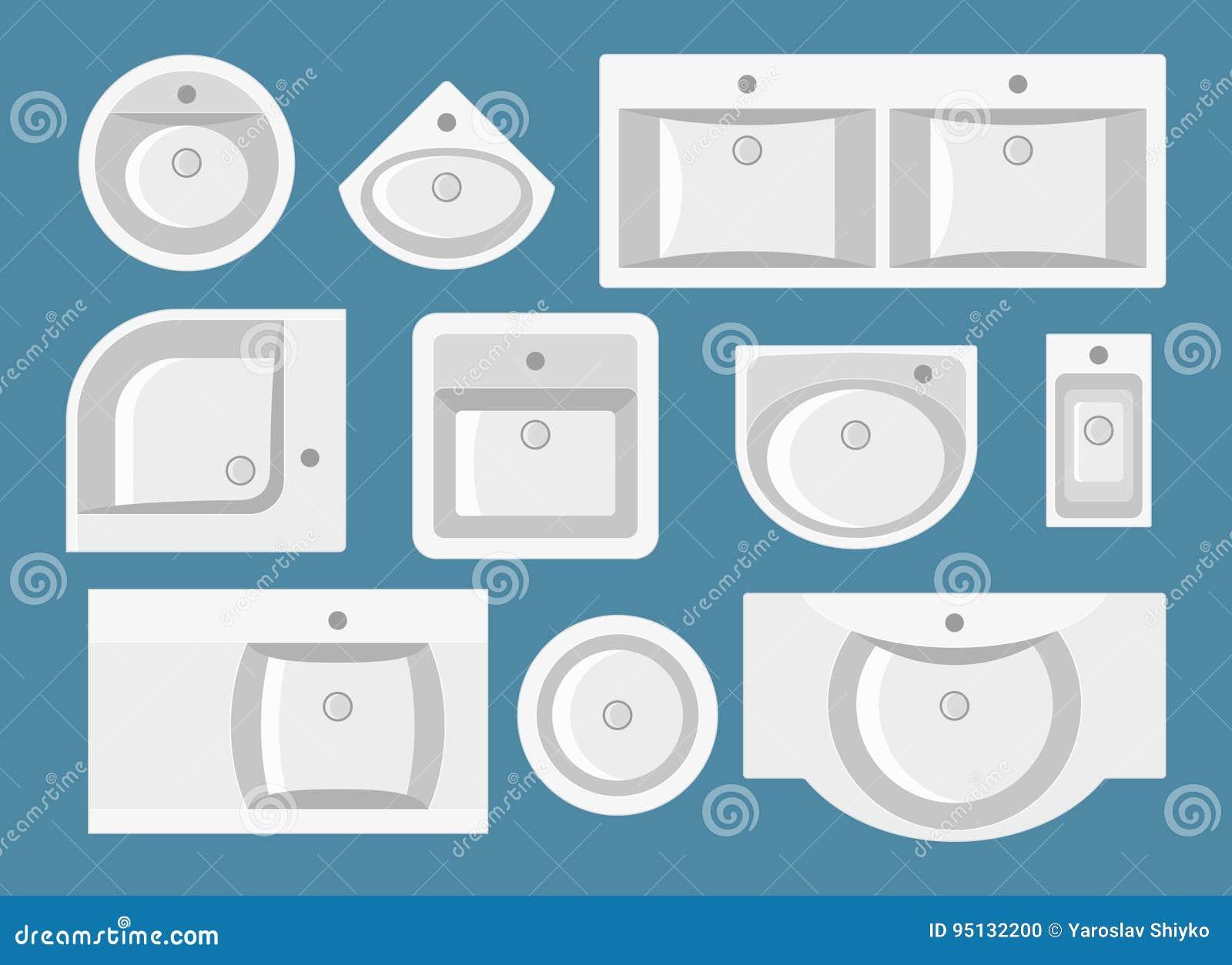 Uppsättning av vaskar i plan stil Top beskådar