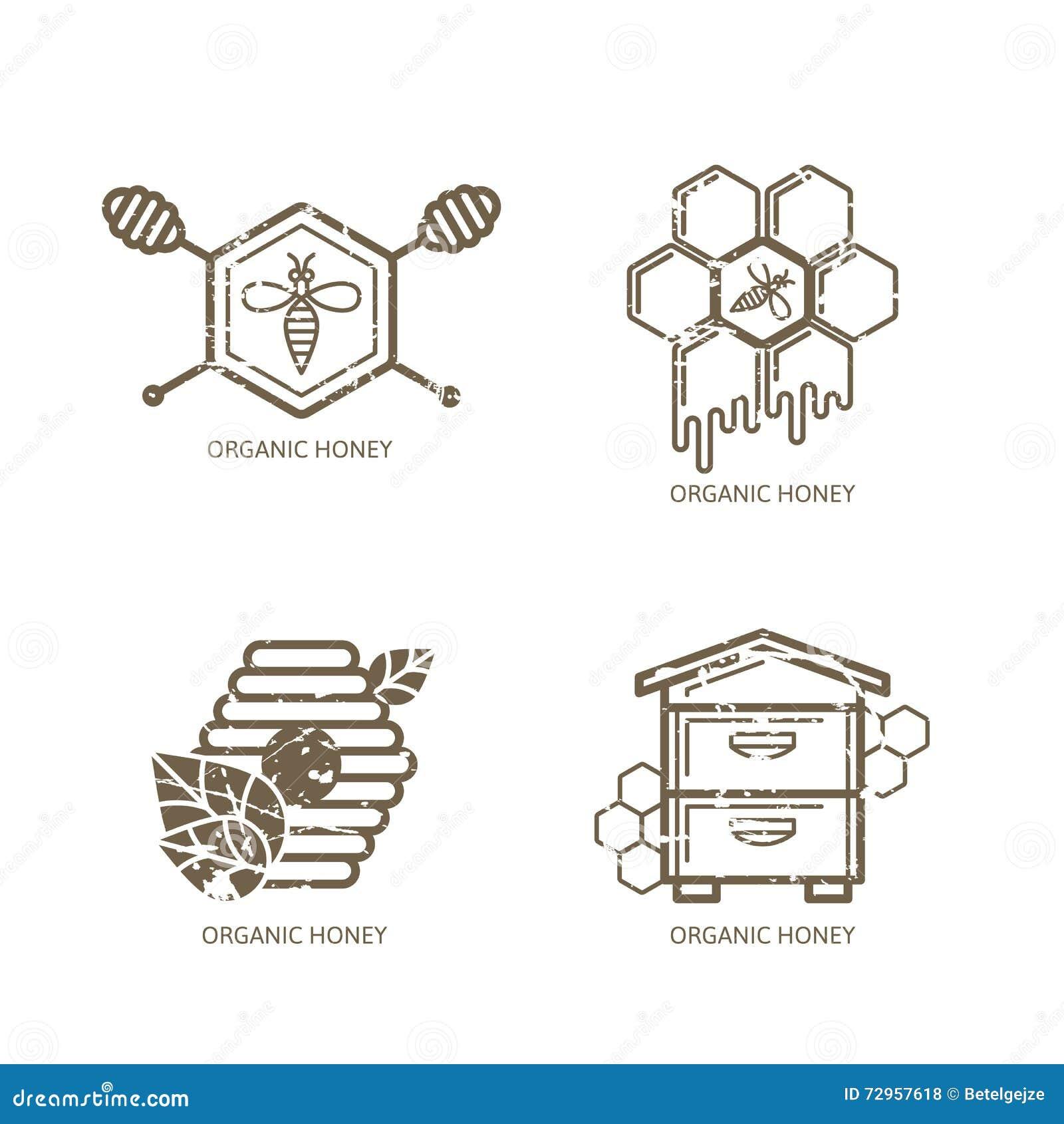 Uppsättning av vektorhonungetiketten, logo, etikett, klistermärkedesignbeståndsdelar Bi bikupa, honungskakor