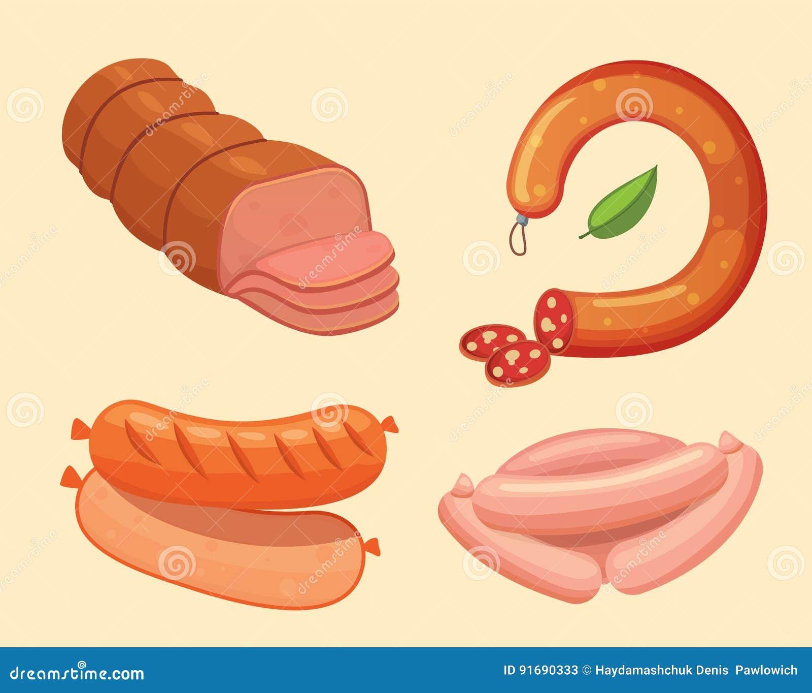 Uppsättning av vektortecknad filmkorven Bacon, skivad salami och rökt kokt nya matvaruaffärsymboler grillat