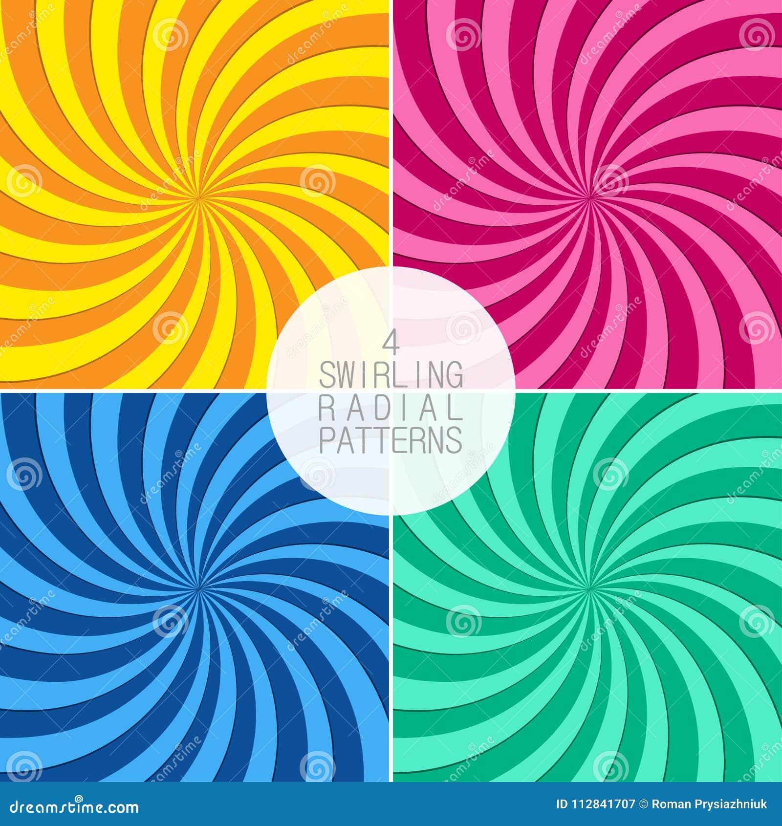 Uppsättning av virvlande runt radiella modeller Bakgrund med virvelstrålar Virvelstrålar vektor