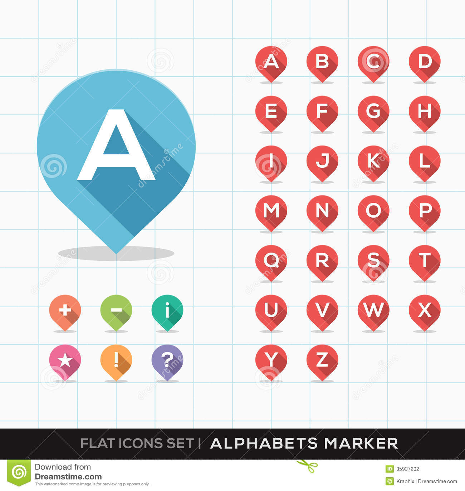 Uppsättning av A-Z Alphabet Pin Marker Flat Icons med lon