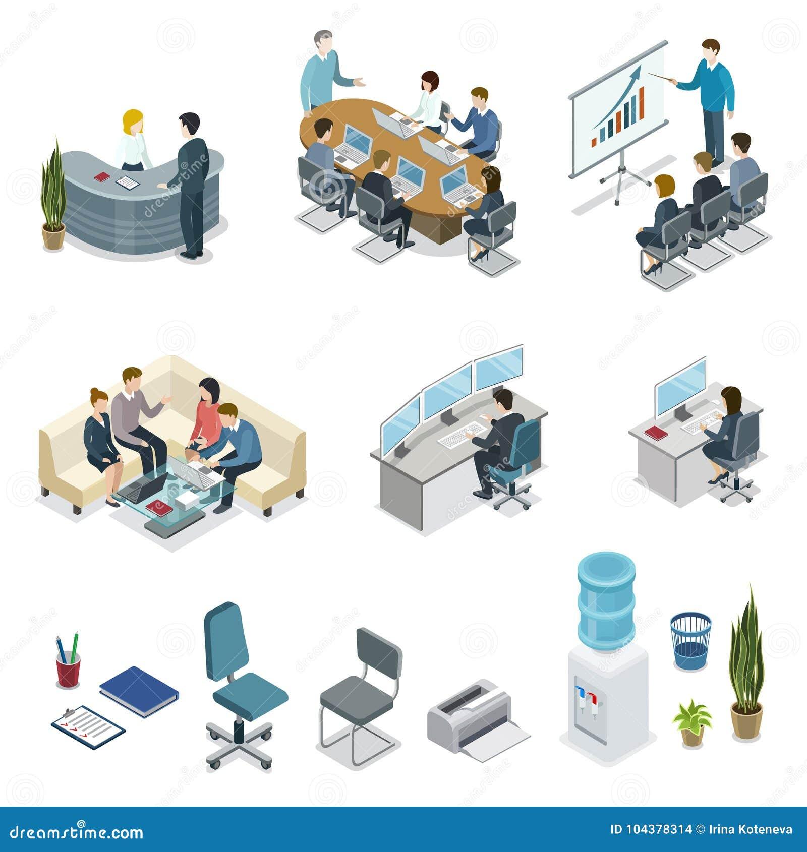 Uppsättning 3D för liv för företags kontor isometrisk