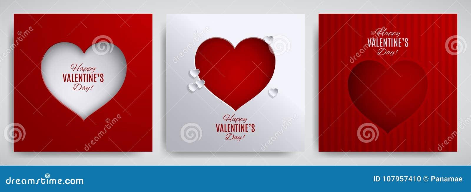 Uppsättning för dag för valentin` s Hälsningkort, affisch, reklamblad, banerdesignsamling Cutted pappershjärta på randig satängba