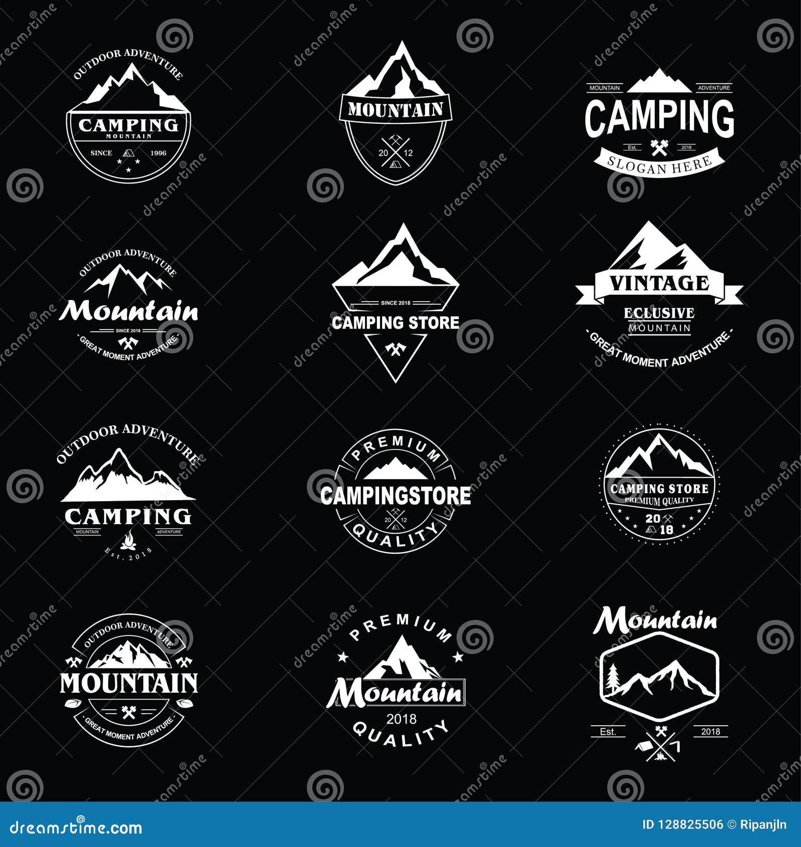 Uppsättning för design för bergutforskareAdventure Badge Vector mall
