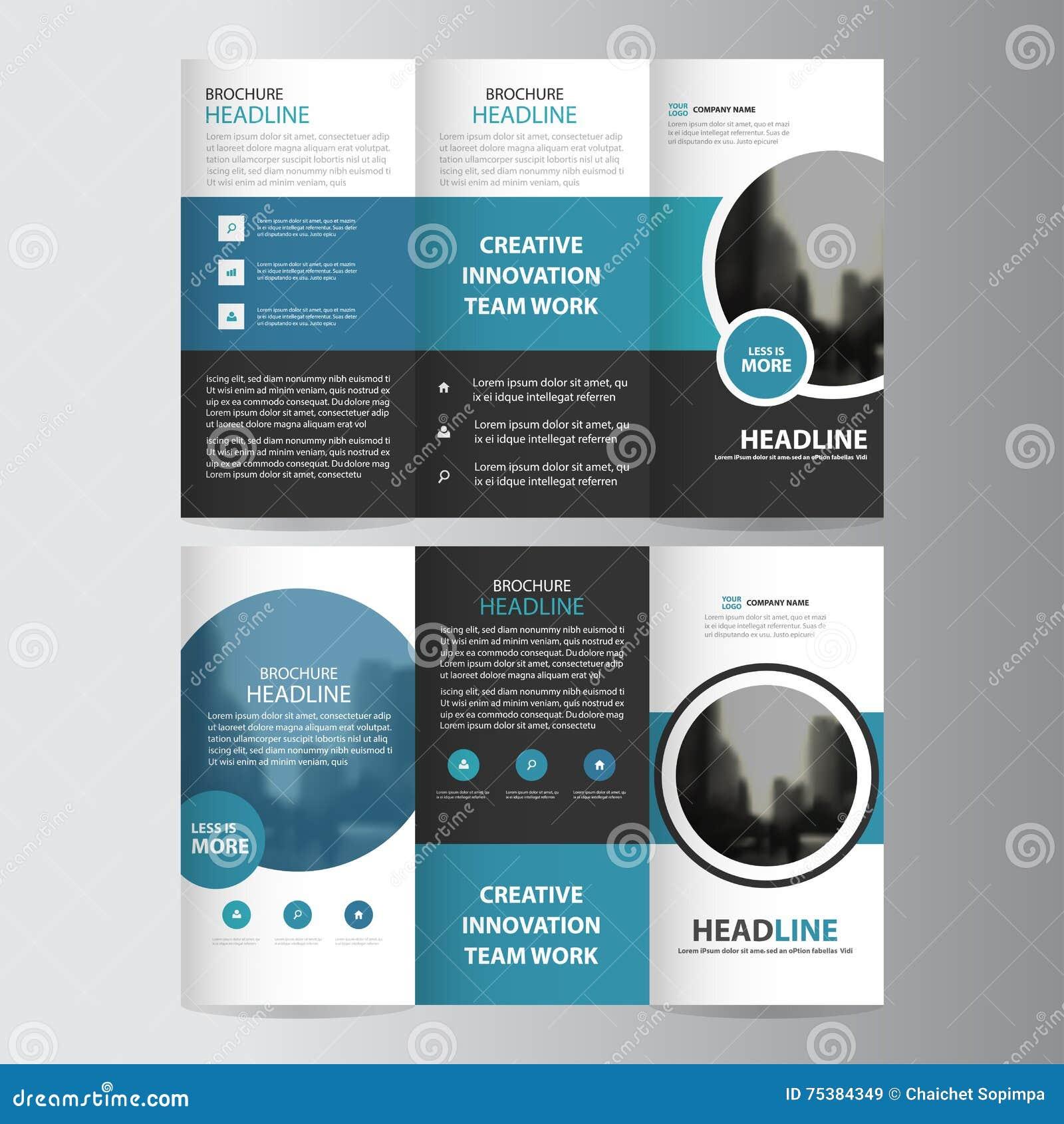 Uppsättning för design för blå för cirkelaffär trifold för broschyr för broschyr för reklamblad för rapport vektor för mall minst
