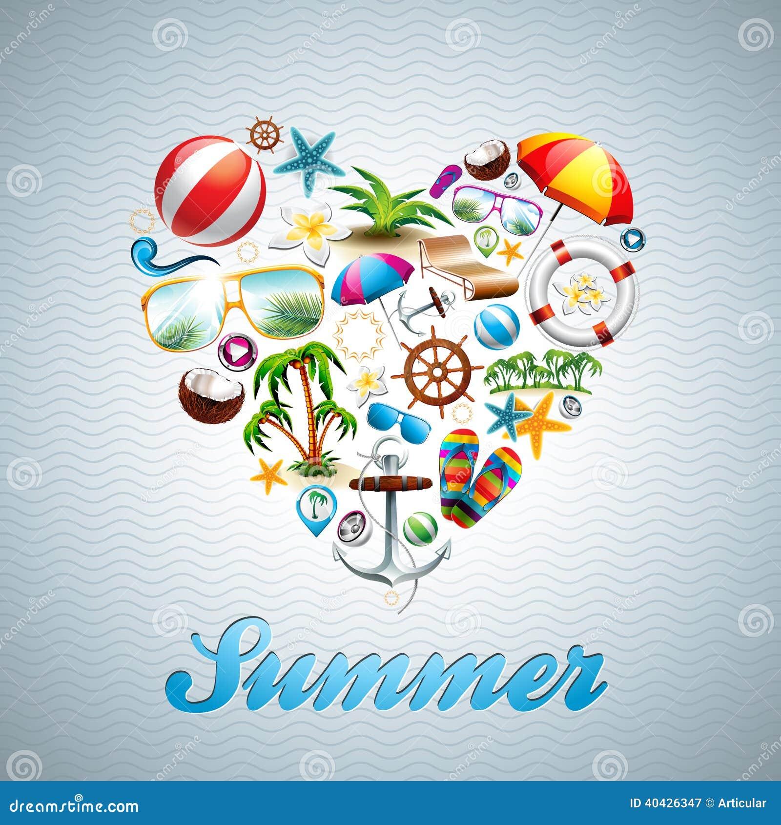 Uppsättning för design för ferie för sommar för vektorförälskelsehjärta på wav