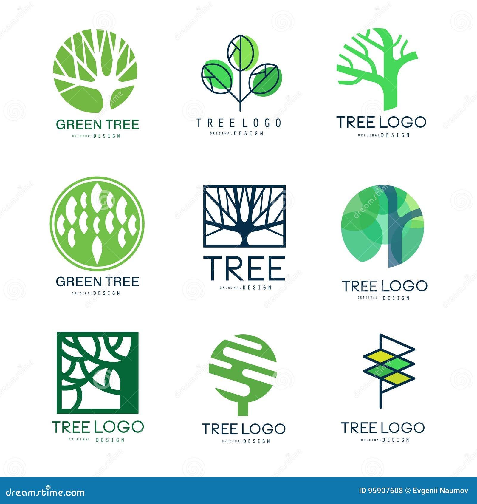 Uppsättning för design för grön trädlogo original- av vektorillustrationer i gröna färger