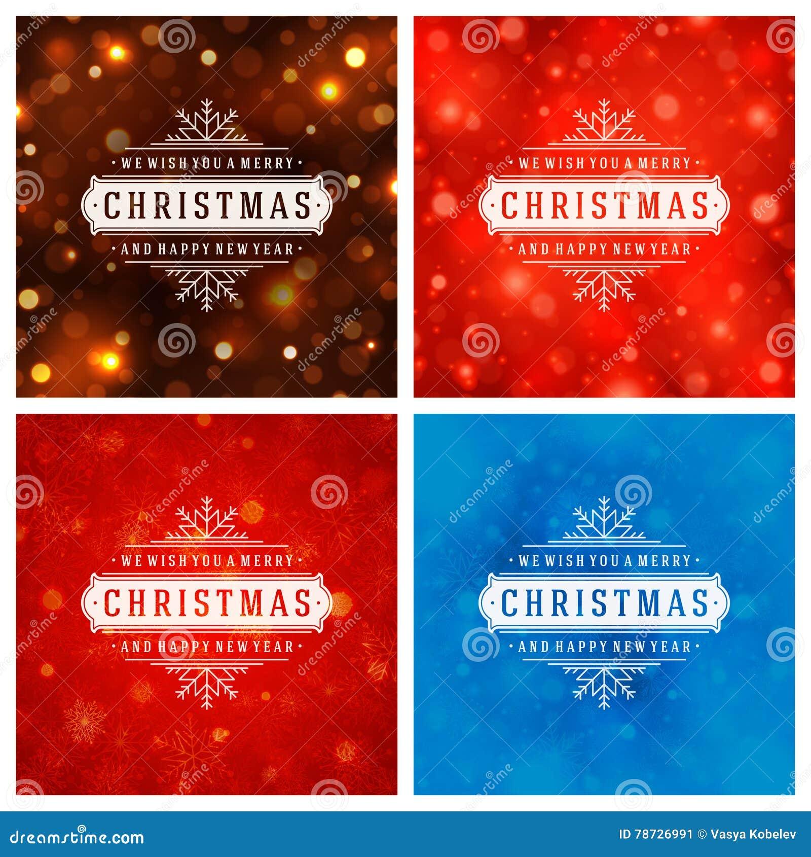 Uppsättning för design för kort för jultypografihälsning