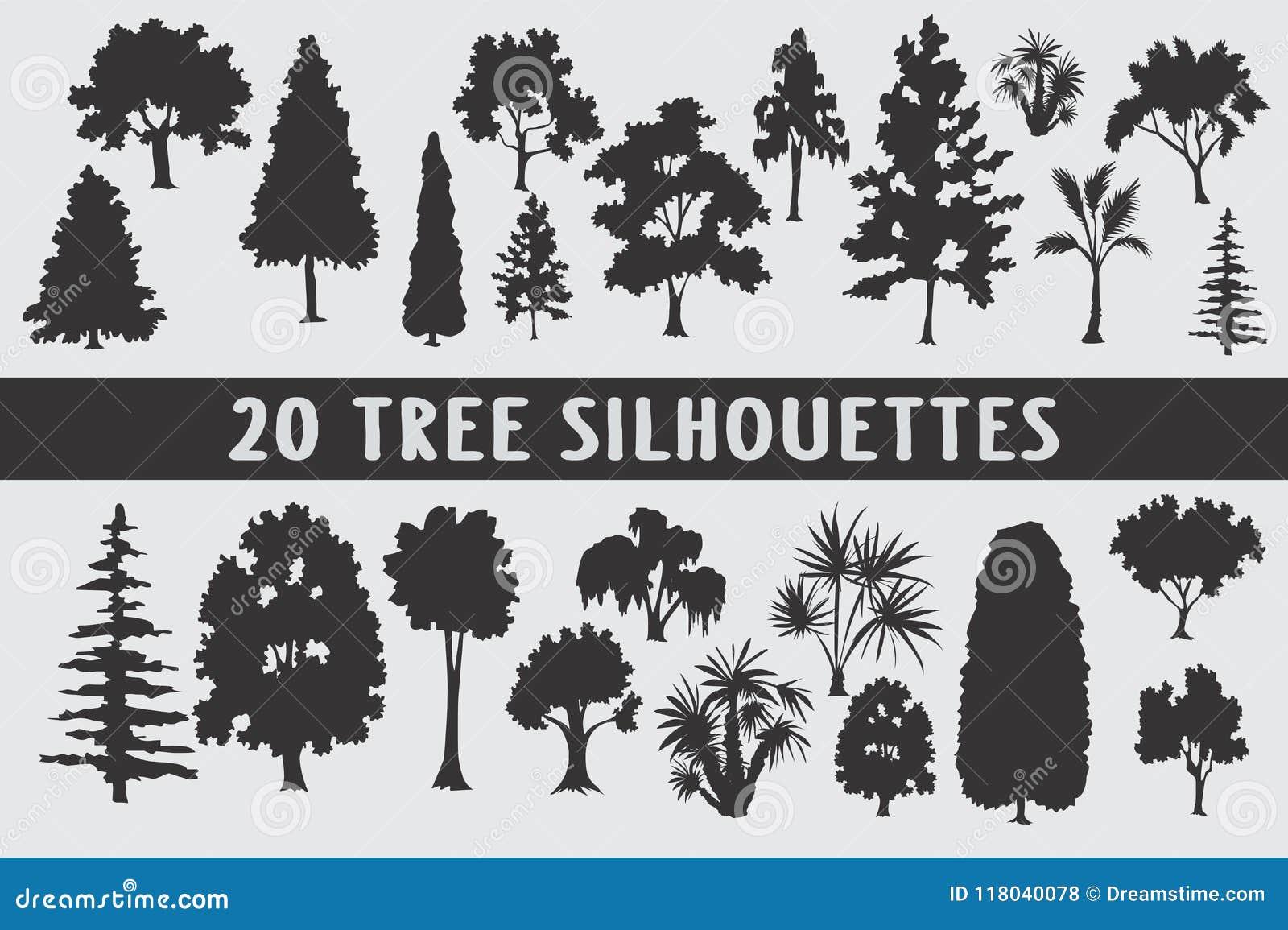 Uppsättning för design för 20 trädkonturer olik
