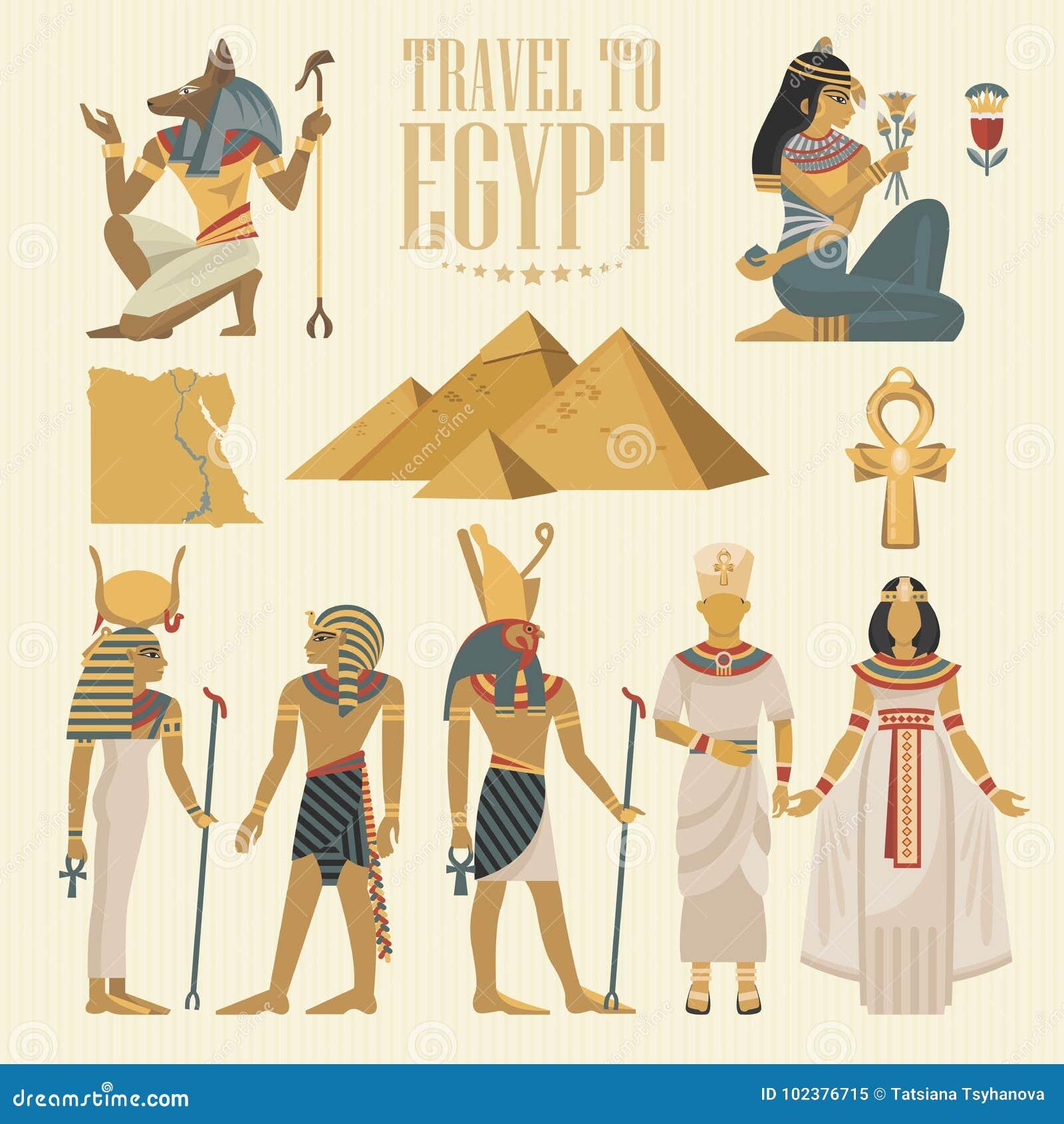 Uppsättning för Egypten loppvektor Egyptiska traditionella symboler i plan design Abstrakt vektorillustration Semester och sommar