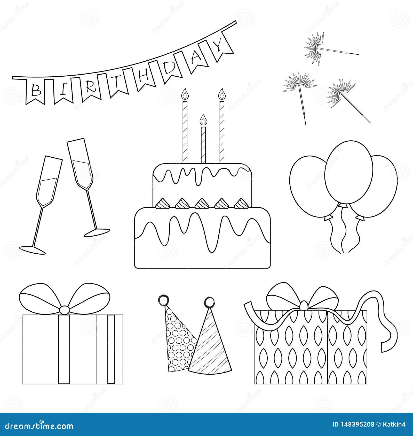 Uppsättning för födelsedagöversiktssymboler Svartvita beståndsdelar av födelsedagen