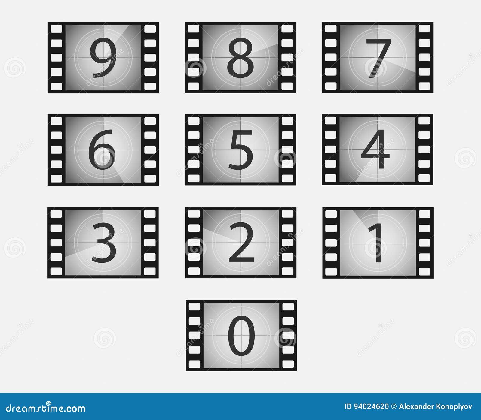 Uppsättning för filmnedräkningvektor