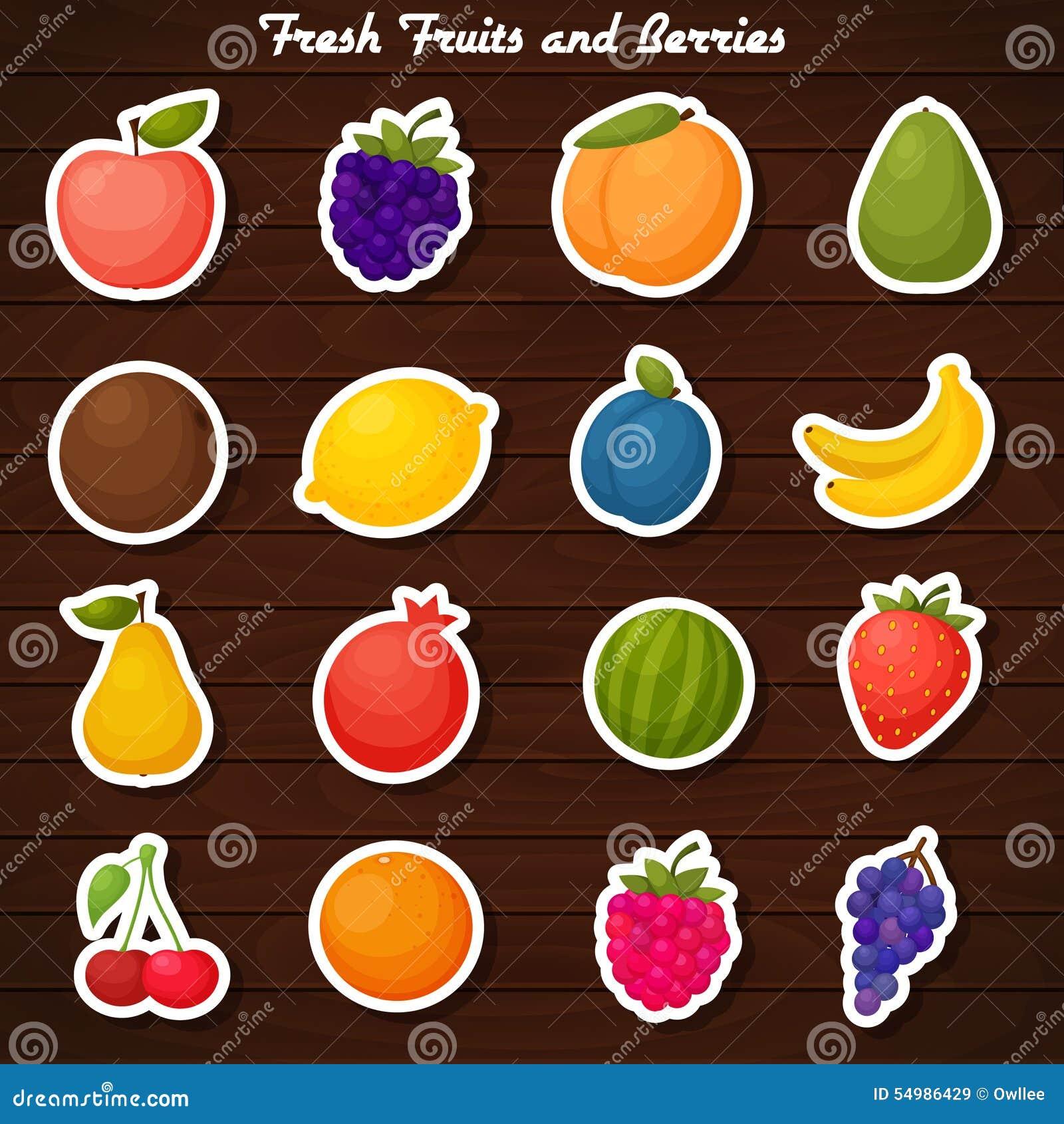 Uppsättning för fruktklistermärkesymbol